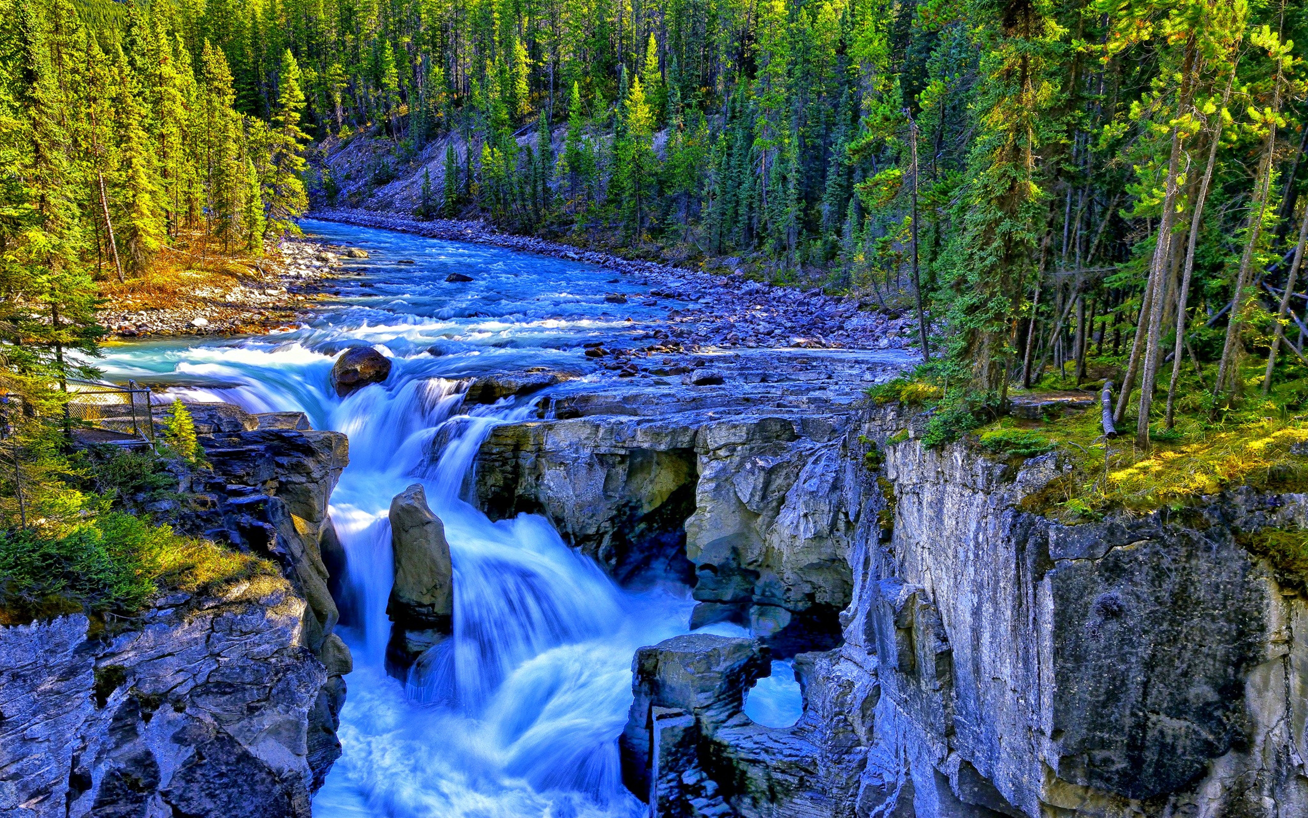 Free Fall Images Desktop Wallpaper Waterfall River Rocks Forest Trees Rivers 323048
