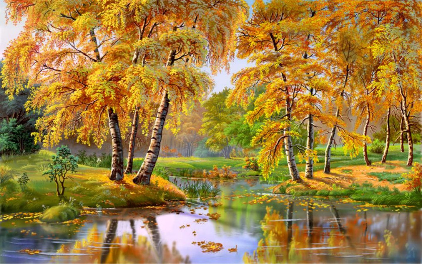 Beautiful Fall Paintings Wallpapers Wonderful Autumn Landscape River Trees 087537