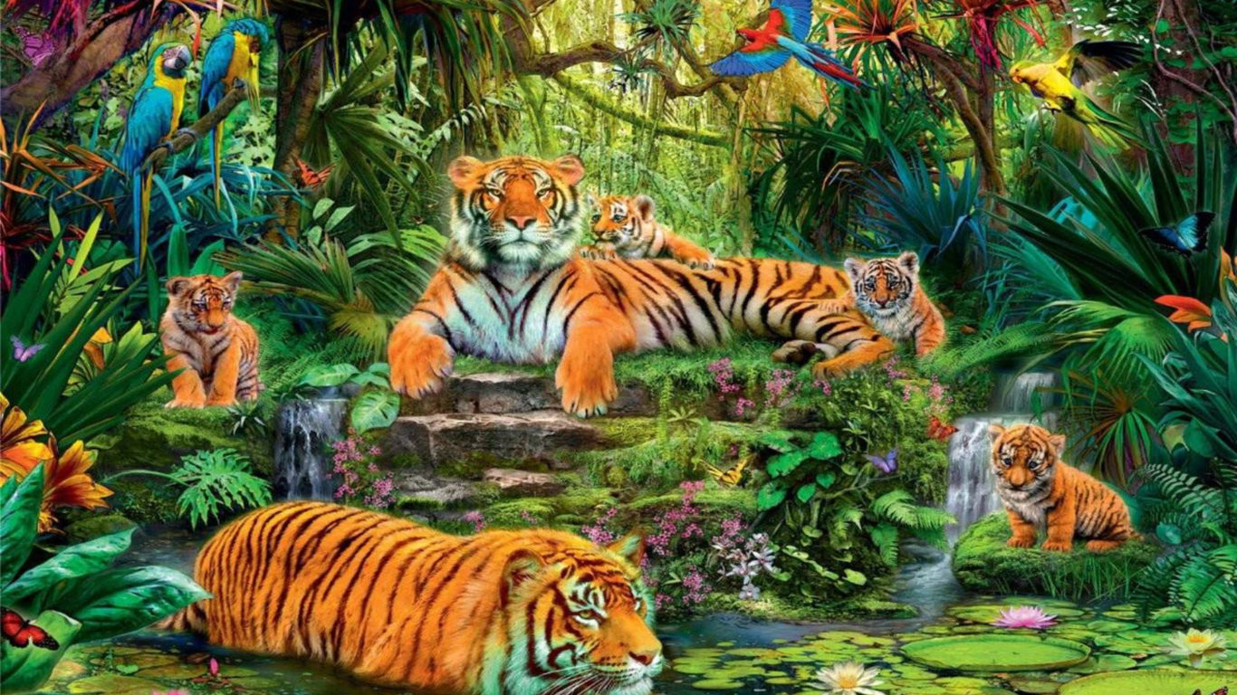 Cute Bengal Wallpapers Hd 1366x768 Animal Kingdom Jungle Tigers Birds Hd Wallpaper