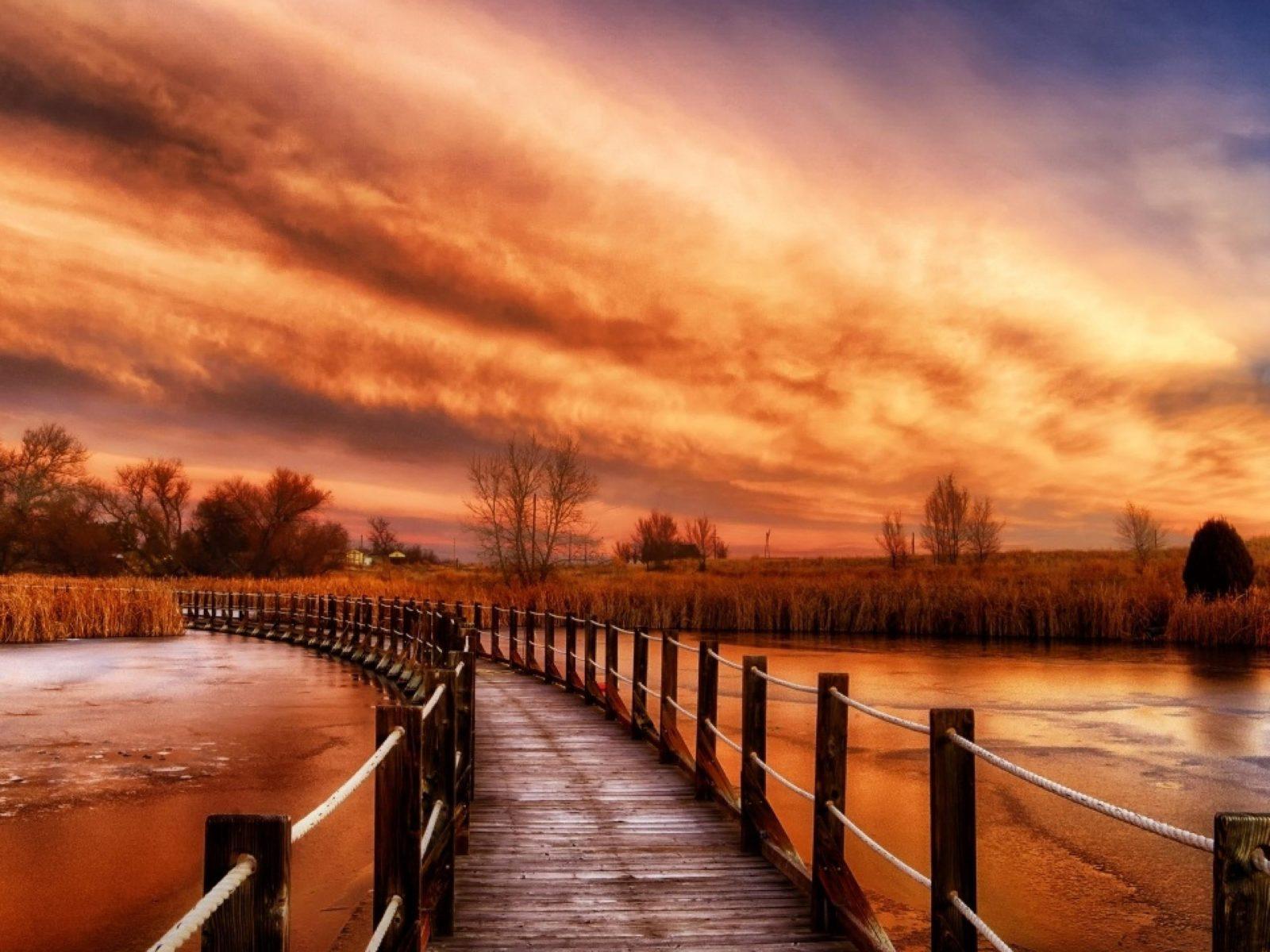 Hd Fall Wallpap Autumn River Sky Wooden Bridge Ultra Hd 3840x2160