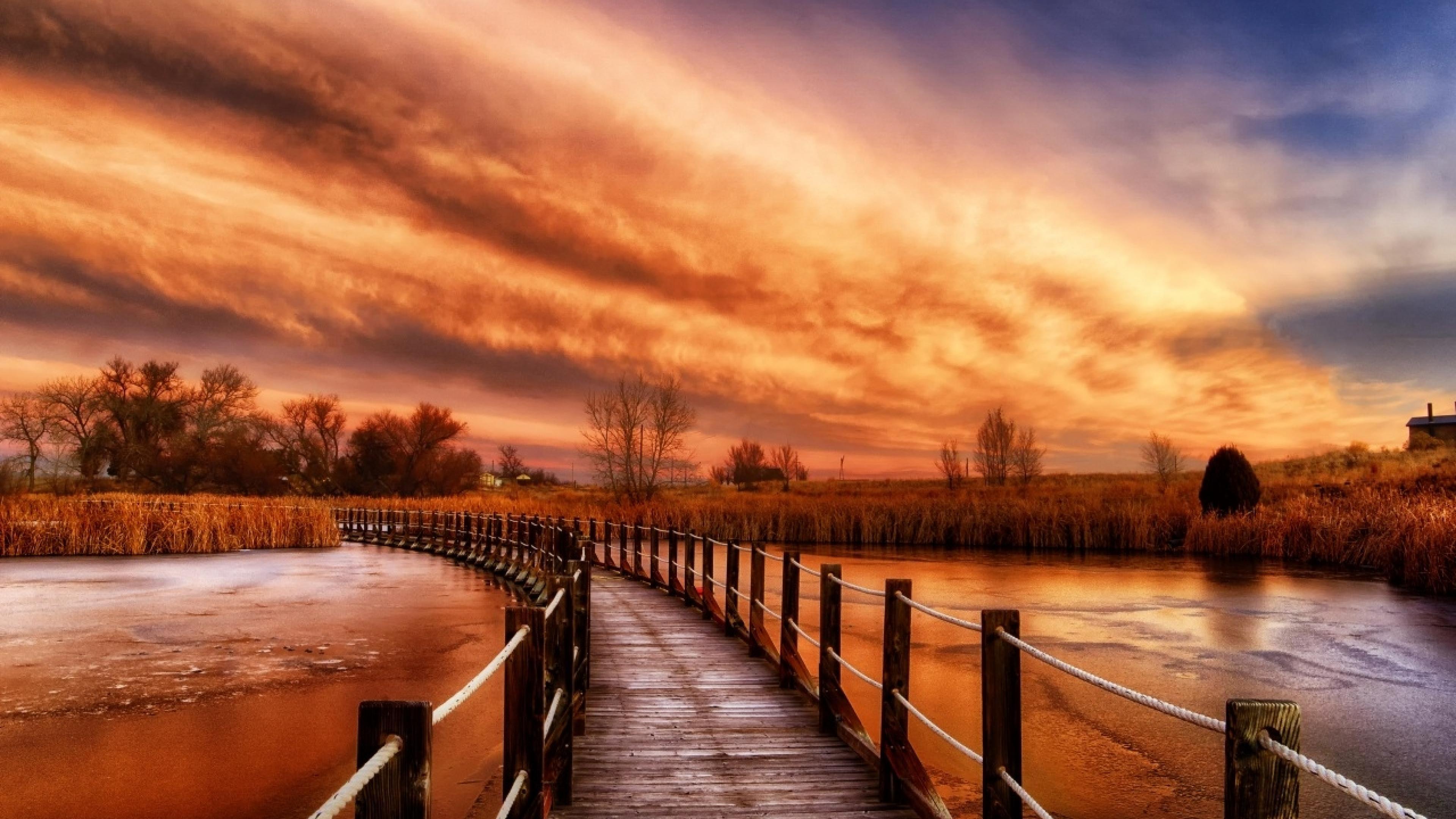 Windows 10 Fall Usa Wallpapers 4k Autumn River Sky Wooden Bridge Ultra Hd 3840x2160