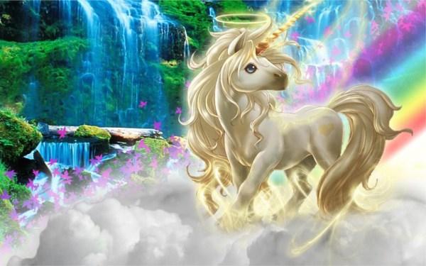 Beautiful 3d Unicorn Silk Clouds Rainbow Wallpaper
