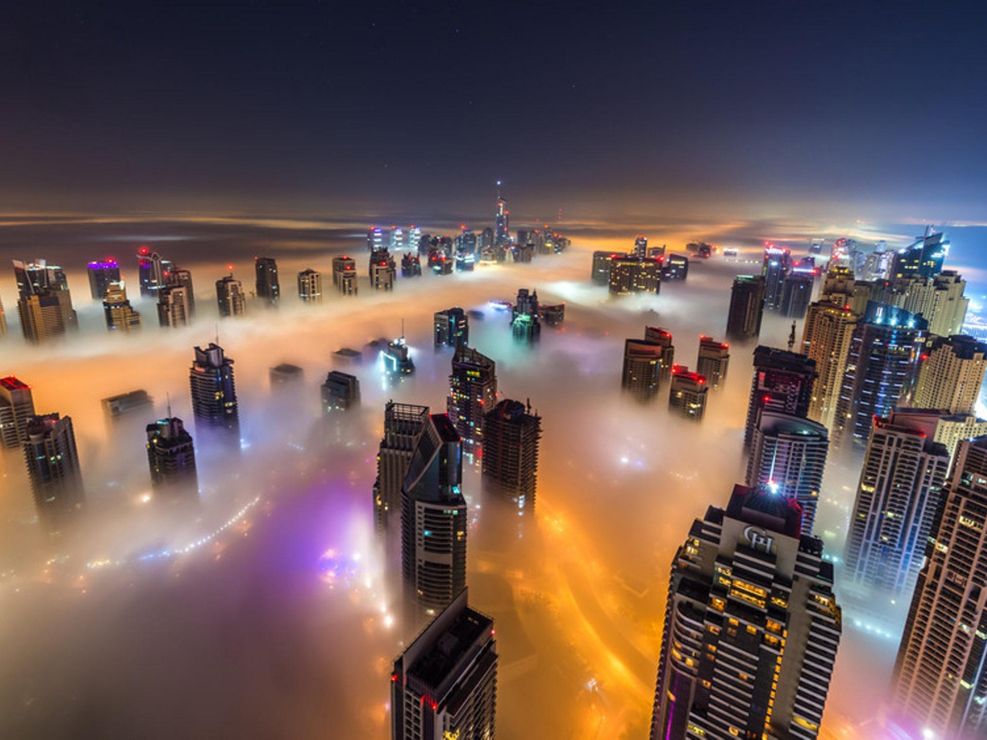 Rio De Janeiro Wallpaper Iphone Dubai Night Time City In The Fog Hd Wallpaper