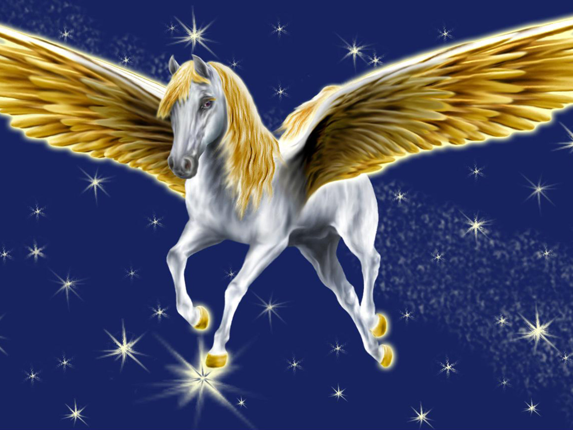 Pegasus Golden Wings Fantasy Desktop Background 3840x2400