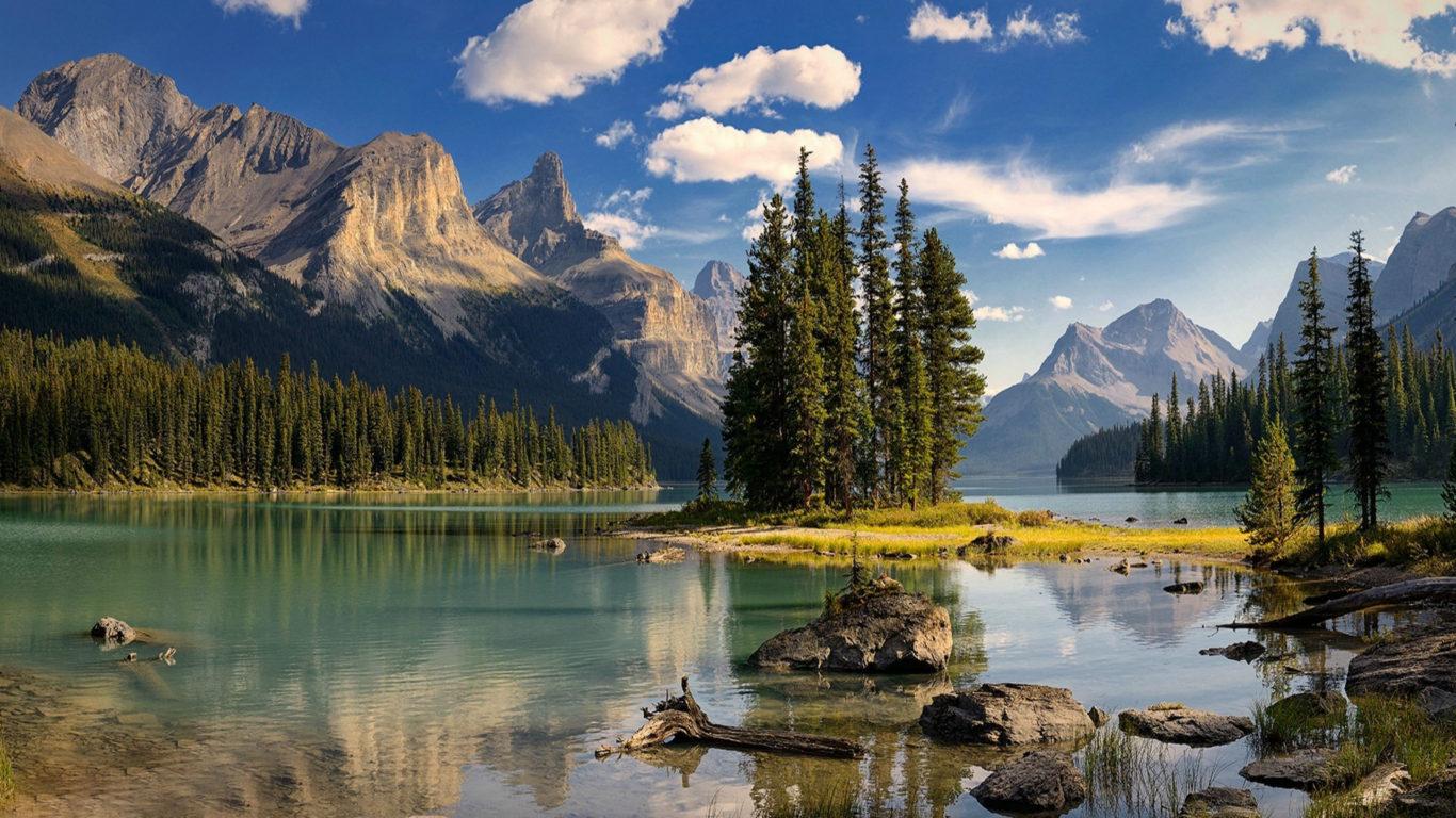 Spirit Island Maligne Lake Canada Mountains Hd Wallpaper