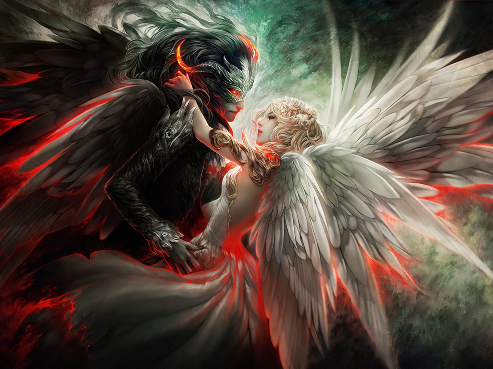 Evil Dark Fantasy Girl Wallpaper Hd Angel And Demon Mask Couple Wings Orginal Hd Wallpaper