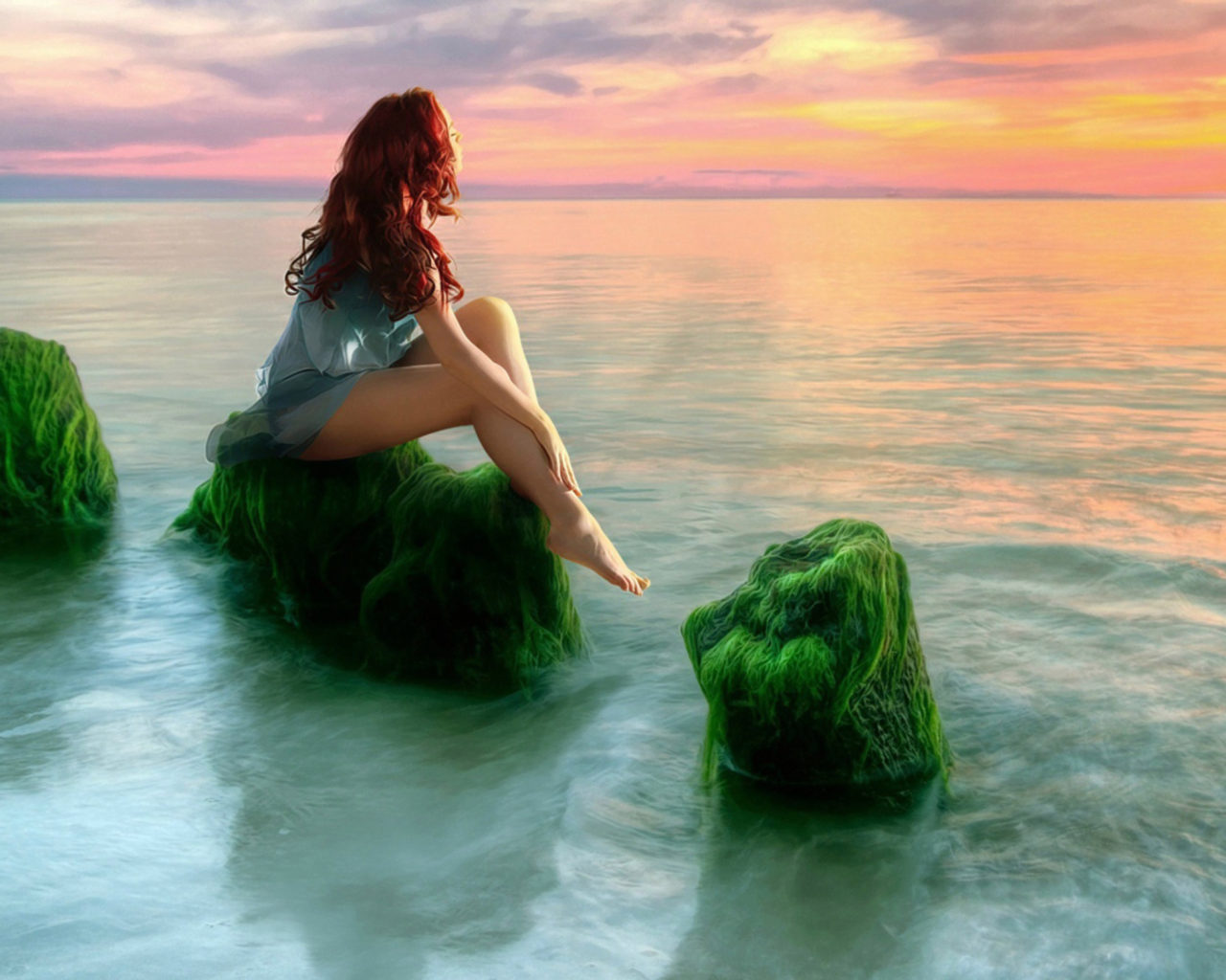 Barefoot Girl Wallpaper Beauty Girl Sea Sunset Relax Desktop Hd Wallpaper