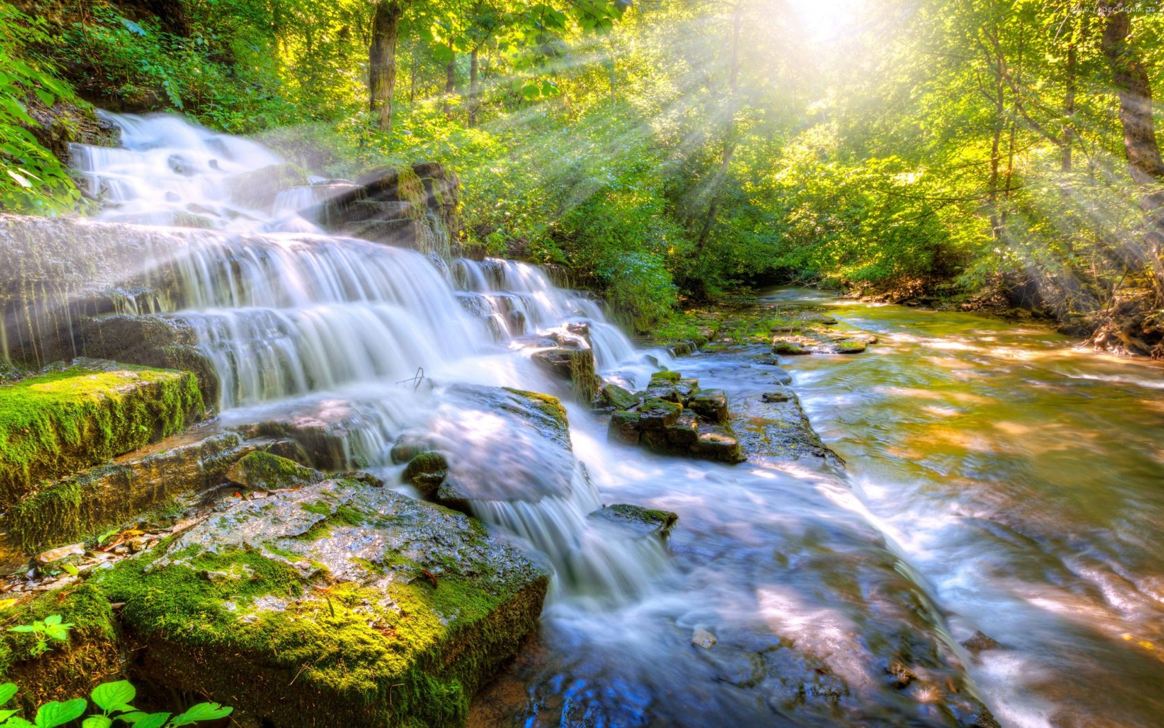 Fall Wallpapers For Tablet Cascade Waterfall River Stones With Moss Green Sunlight