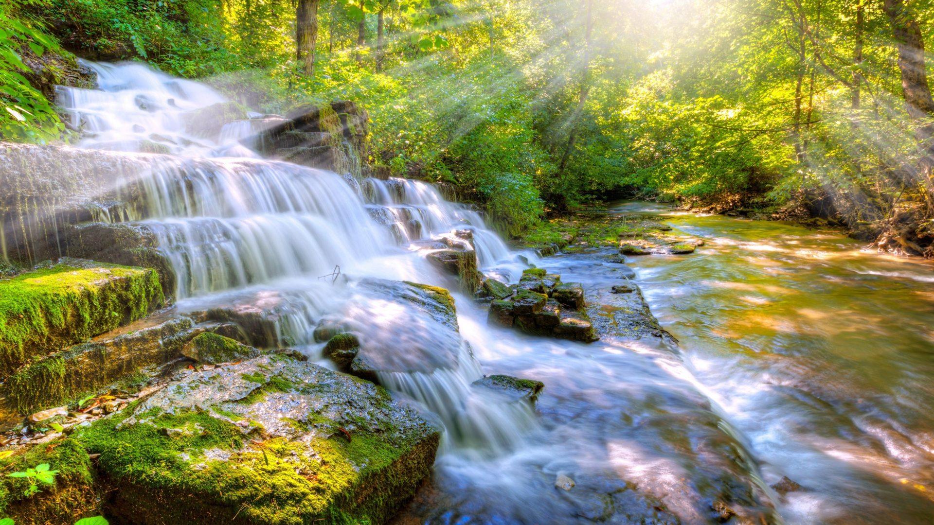 1280x1024 Fall Wallpaper Cascade Waterfall River Stones With Moss Green Sunlight