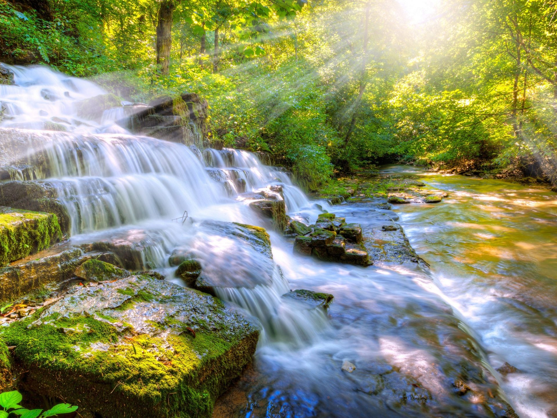 Wallpaper Of Water Fall Cascade Waterfall River Stones With Moss Green Sunlight