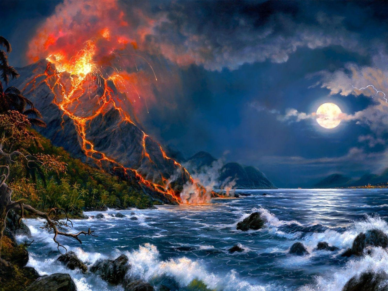 Fall Leaves Dancing Wallpaper Eruption Of Volcano Sea Full Moon Fantasy Art Hd Wallpaper