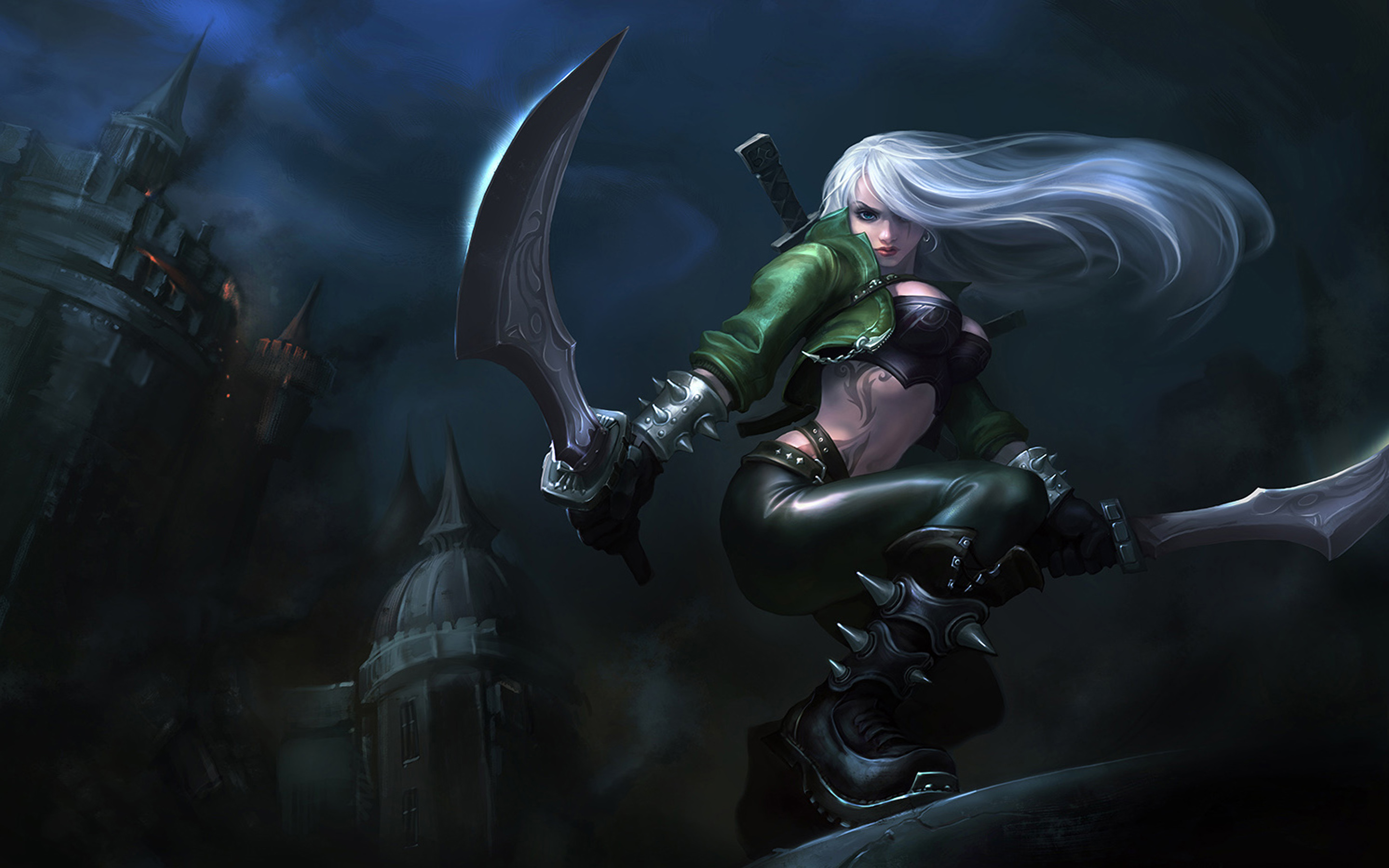 League Of Legends Katarina Girl White Hair Sword Castle Wallpaper HD For Mobile Phone 2880x1800