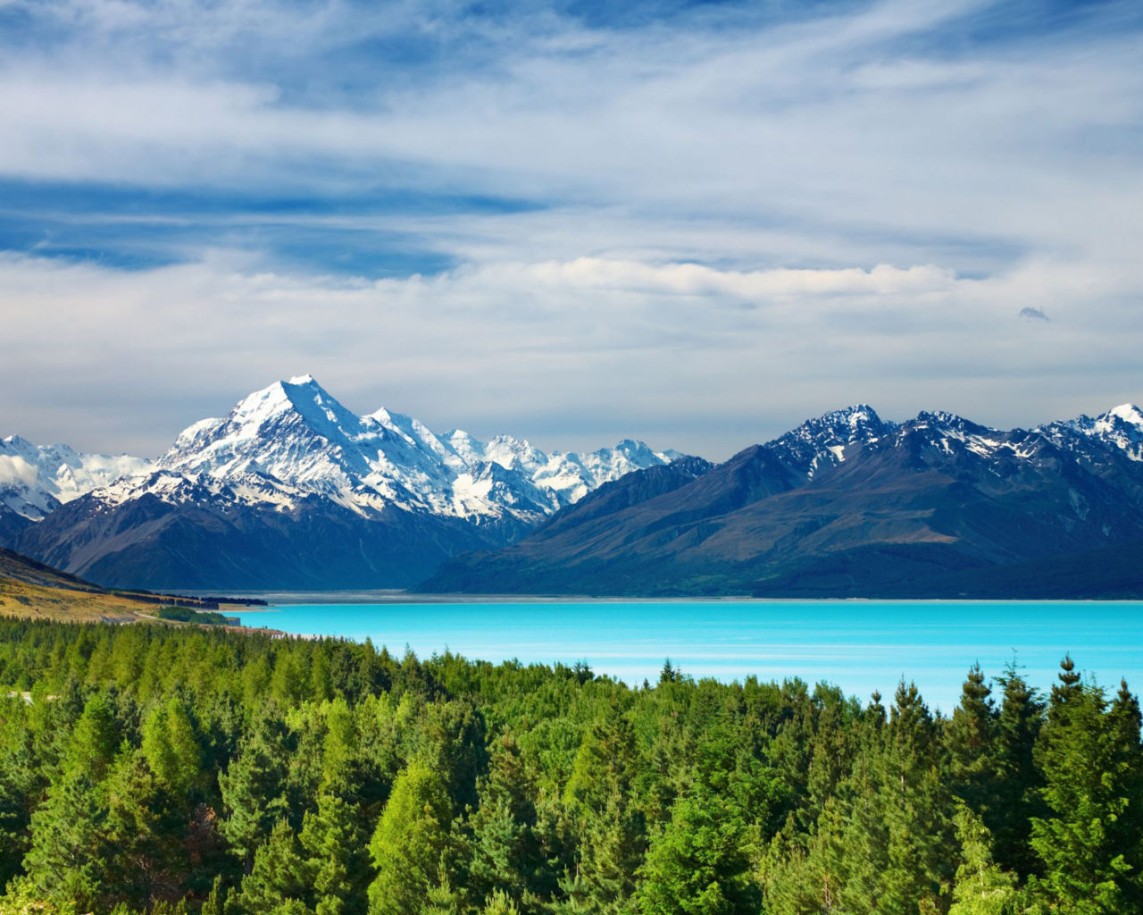 Fall Wallpapers For Tablet Mount Cook And Pukaki Lake New Zealand Desktop Wallpaper
