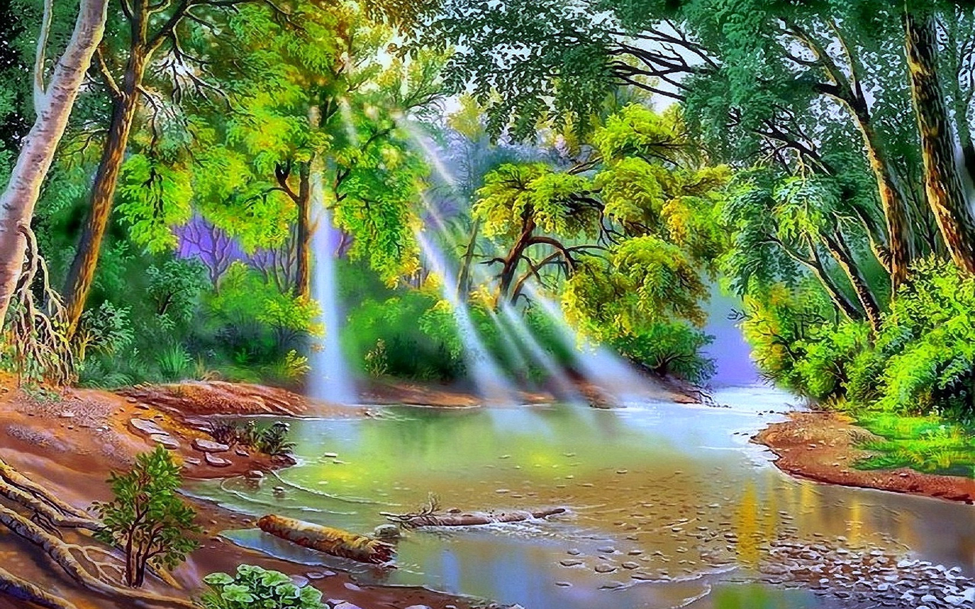 Natural Falls Wallpaper Free Download Nature River Trees With Green Leaves Sun Rays Art Hd