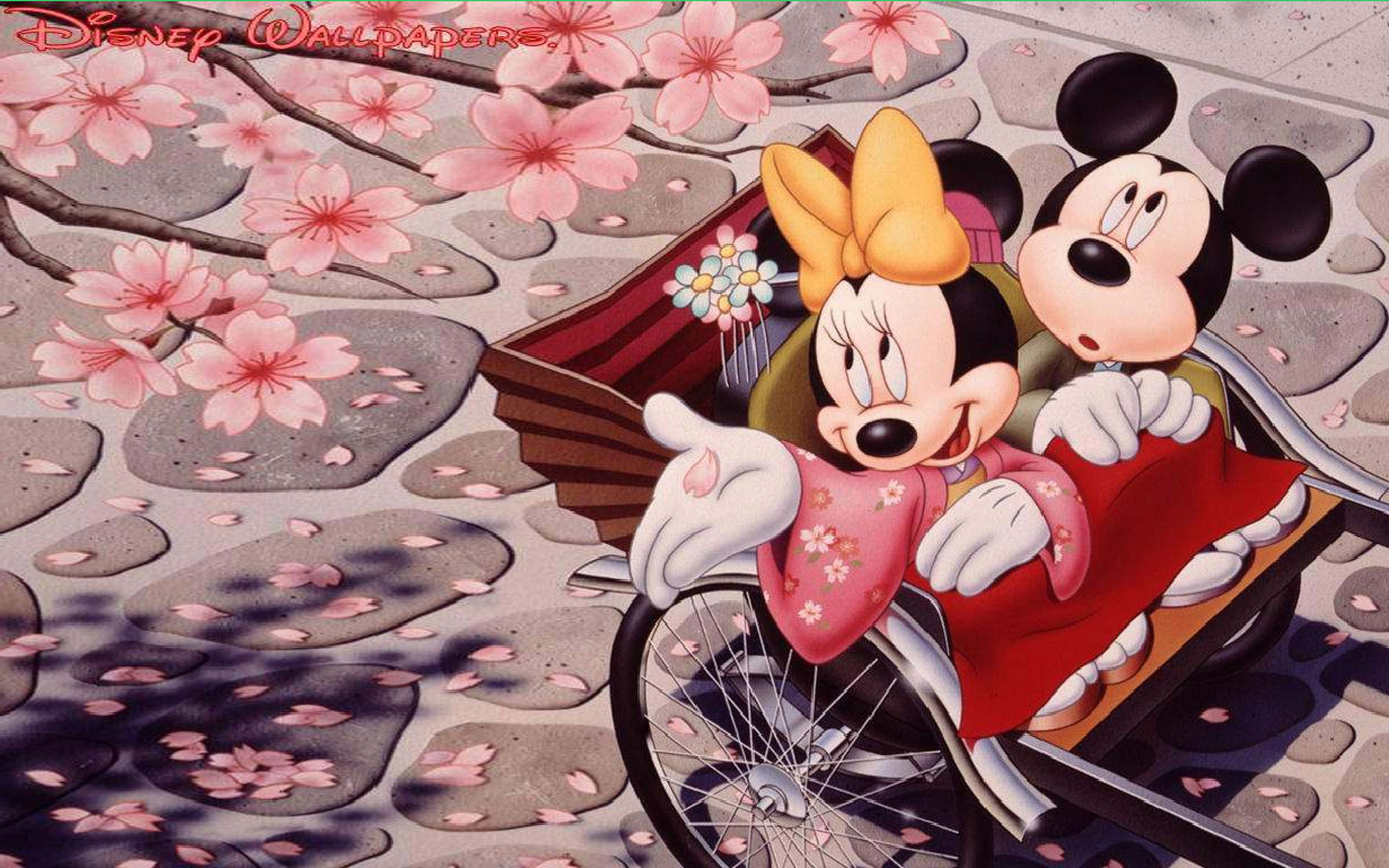 Happy New Year Iphone Wallpaper Romantic Mickey Mouse And Minnie Mouse Japanese Cherry