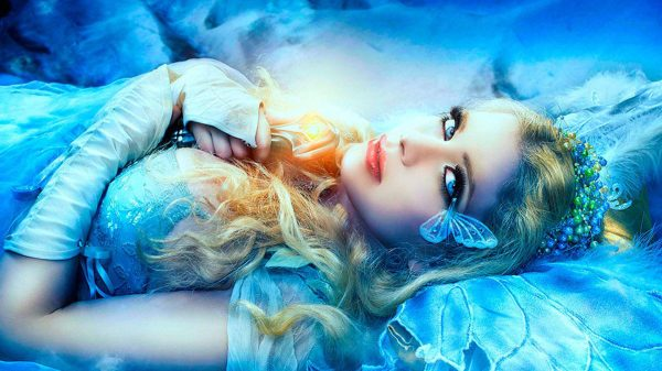Beautiful Blue Girl With Eyes And Red Lips Fantasy Art Desktop Wallpaper Hd Resolution