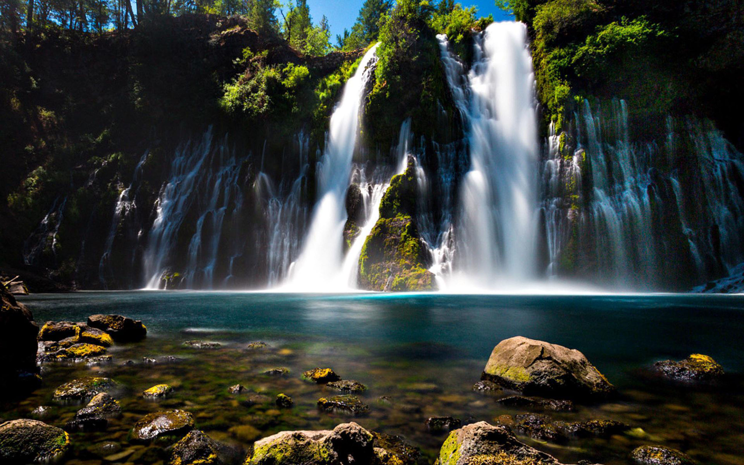 Earth 3d Wallpaper Android Burney Falls Northern California Turquoise Blue Water Rock