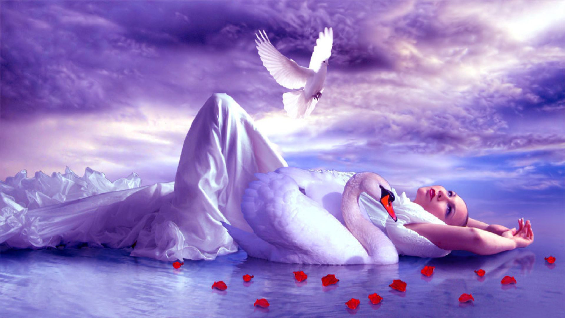 Beautiful Angels Hd Wallpapers Girl Lake Accompaniment Of A Swan And Golub Sky With White