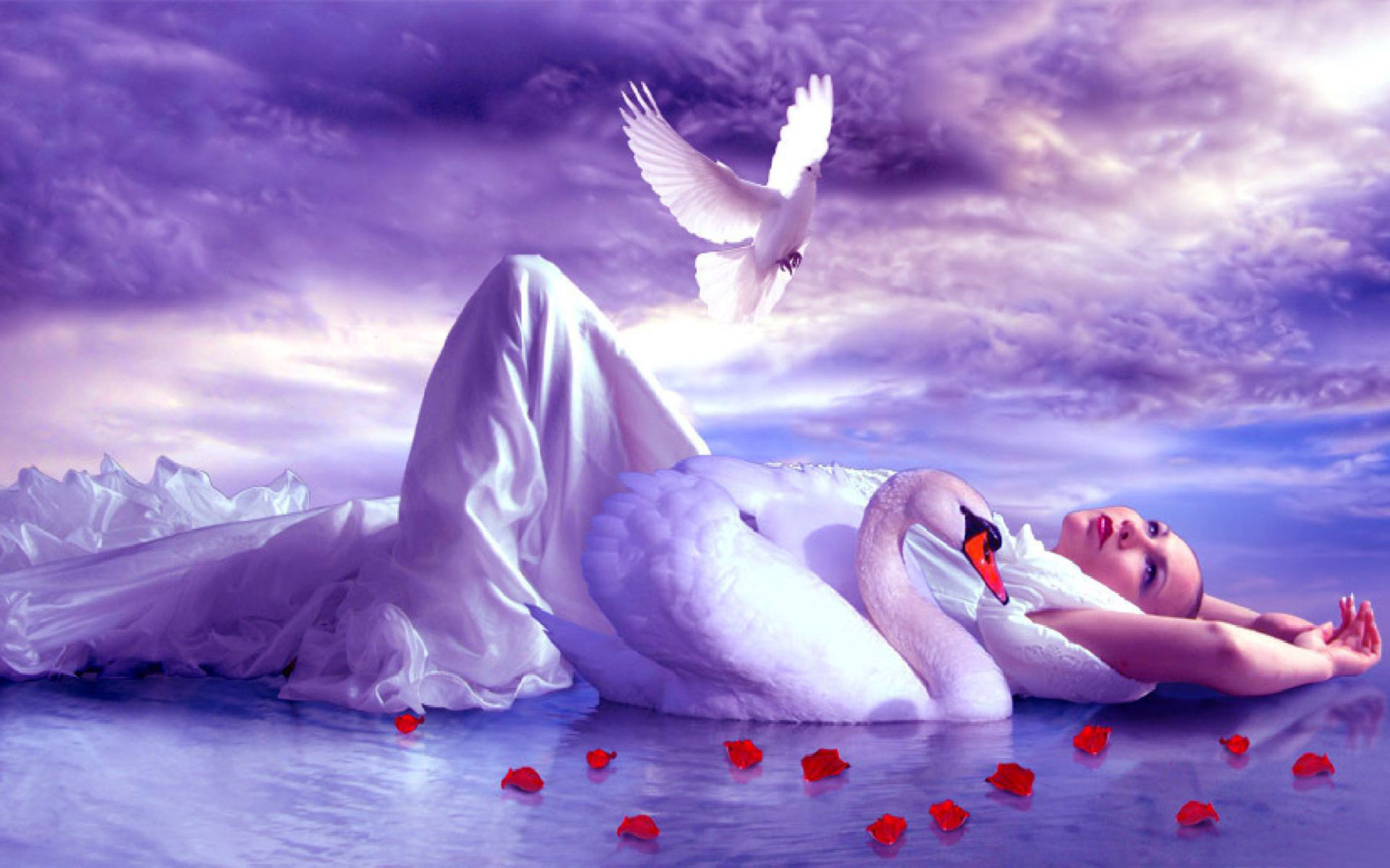 Pretty Girl Wallpaper Free Download Girl Lake Accompaniment Of A Swan And Golub Sky With White