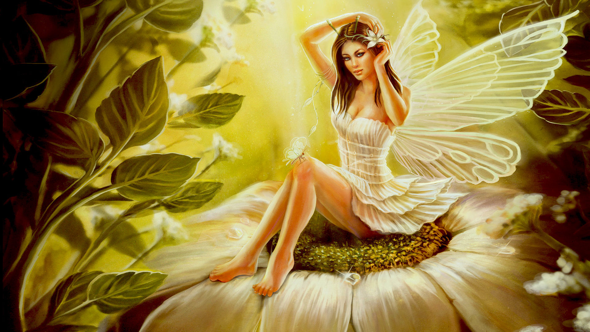 Girl With Wings Of A Butterfly Flower In Her Hair Green