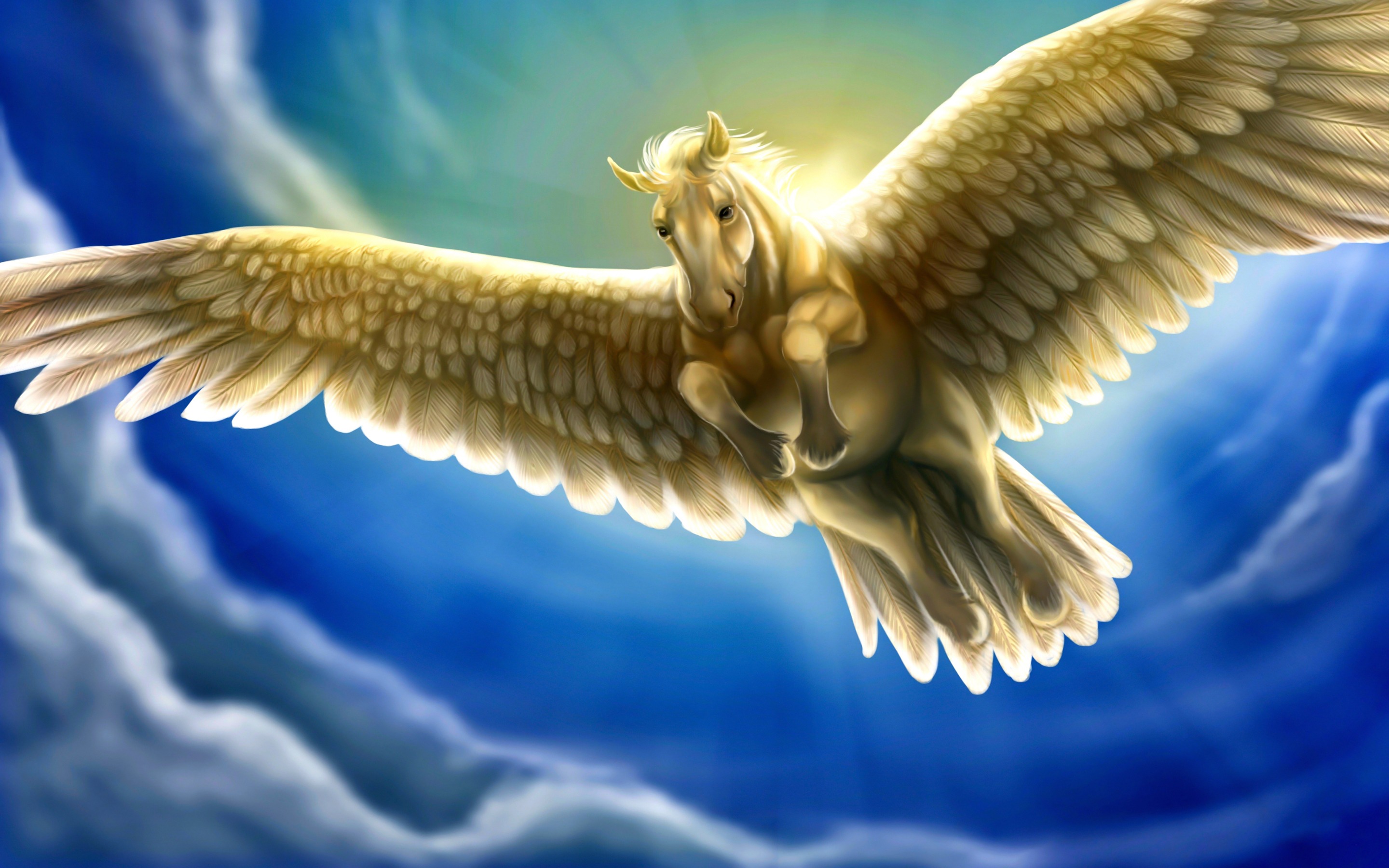 Bright Hd Wallpapers For Iphone Heavenly White Horse With Wings Pegasus Fantasy Sky Blue