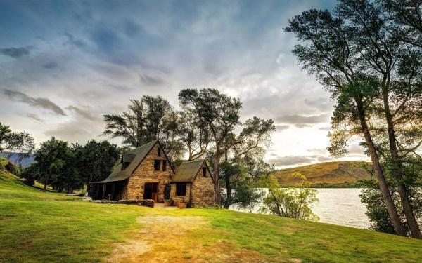 lake stone house tree garden