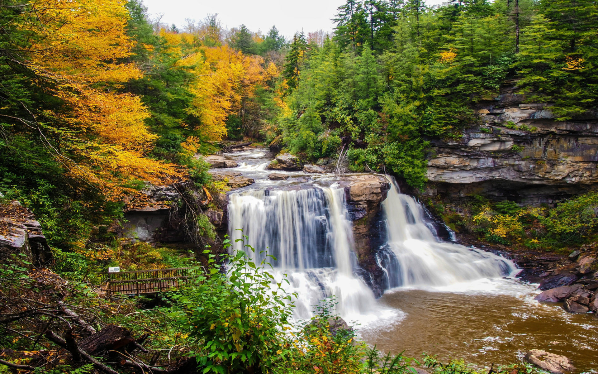 Tablet Wallpaper Europe Fall Mountain River Waterfall Autumn Green Pine Forest And