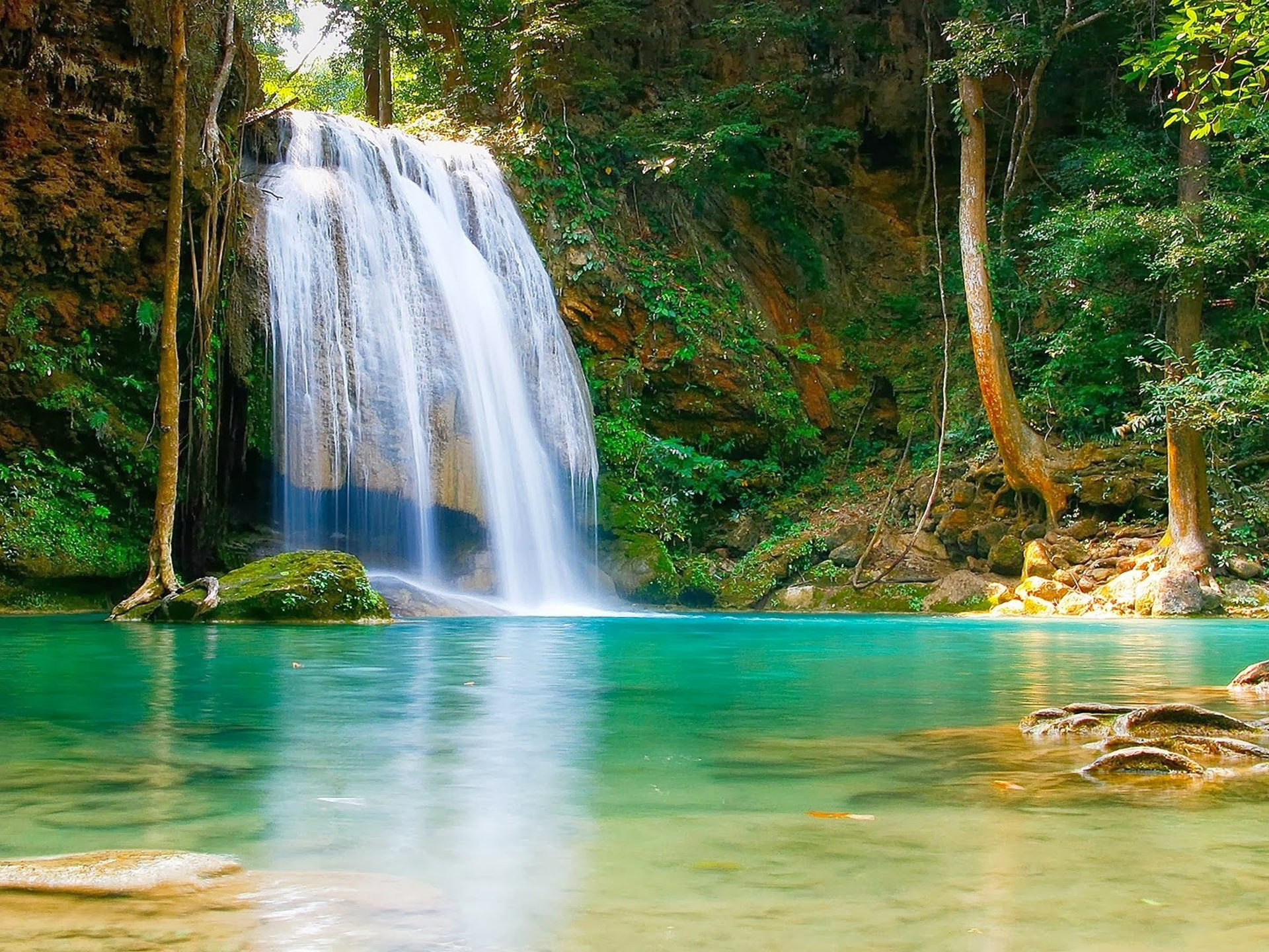 Waterfalls Desktop Wallpaper Forest Falls Nature Falls Pool With Turquoise Green Water Rock Coast