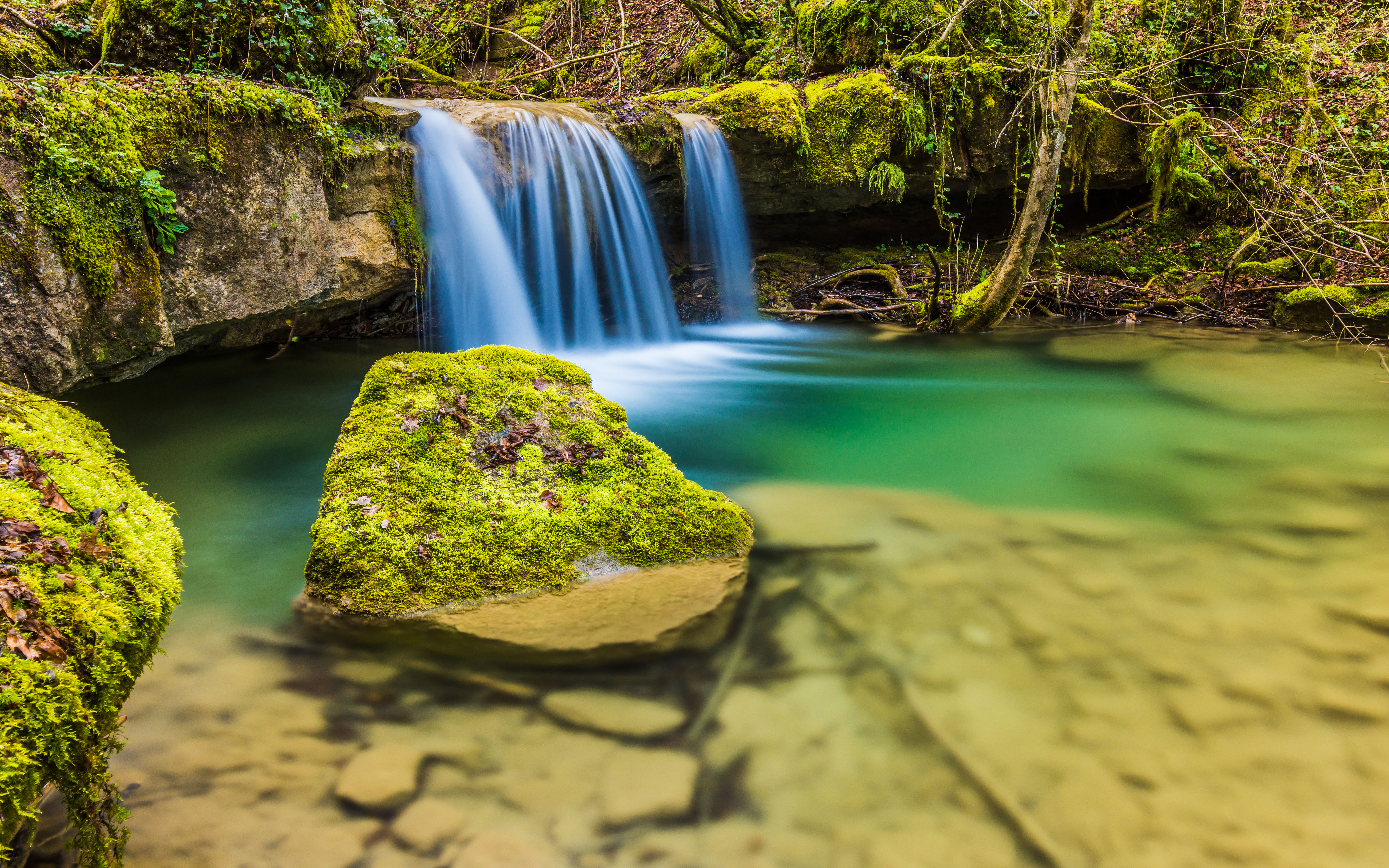 Autumn Fall Wallpaper Free Nice Small Waterfall Clear Water Rocks With Moss Hd