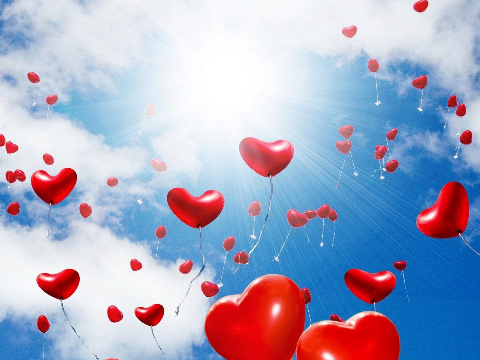 A Happy Girl Wallpaper Red Balloons In The Shape Of A Heart Sunlight Blue Sky