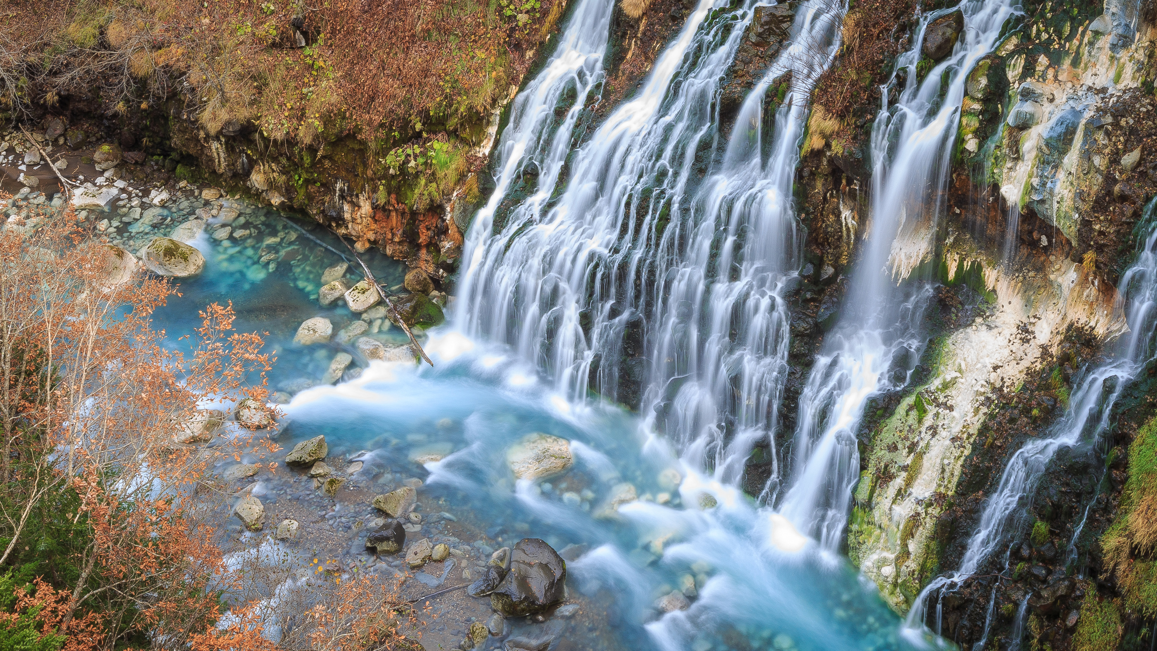 Free Fall Desktop Wallpaper Shirahige Falls In Biei Hokkaido Japan Wallpaper