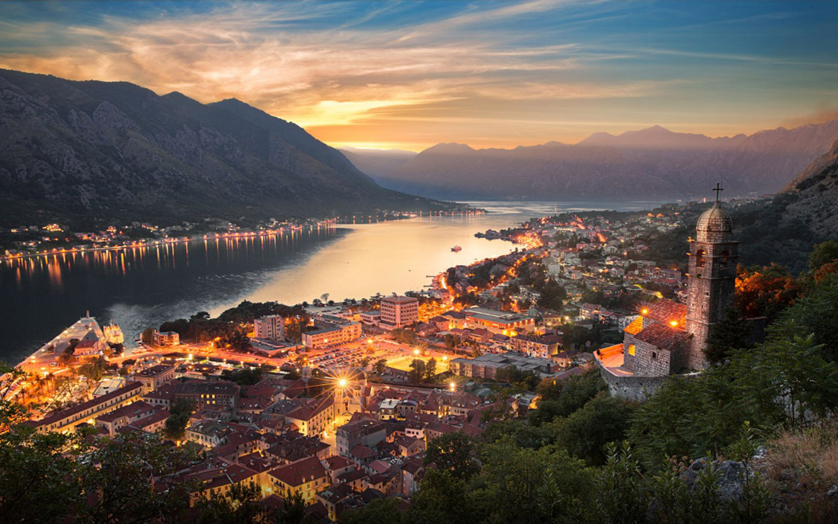 Galaxy Wallpaper Hd Download Montenegro City Kotor At Night Desktop Wallpaper Hd