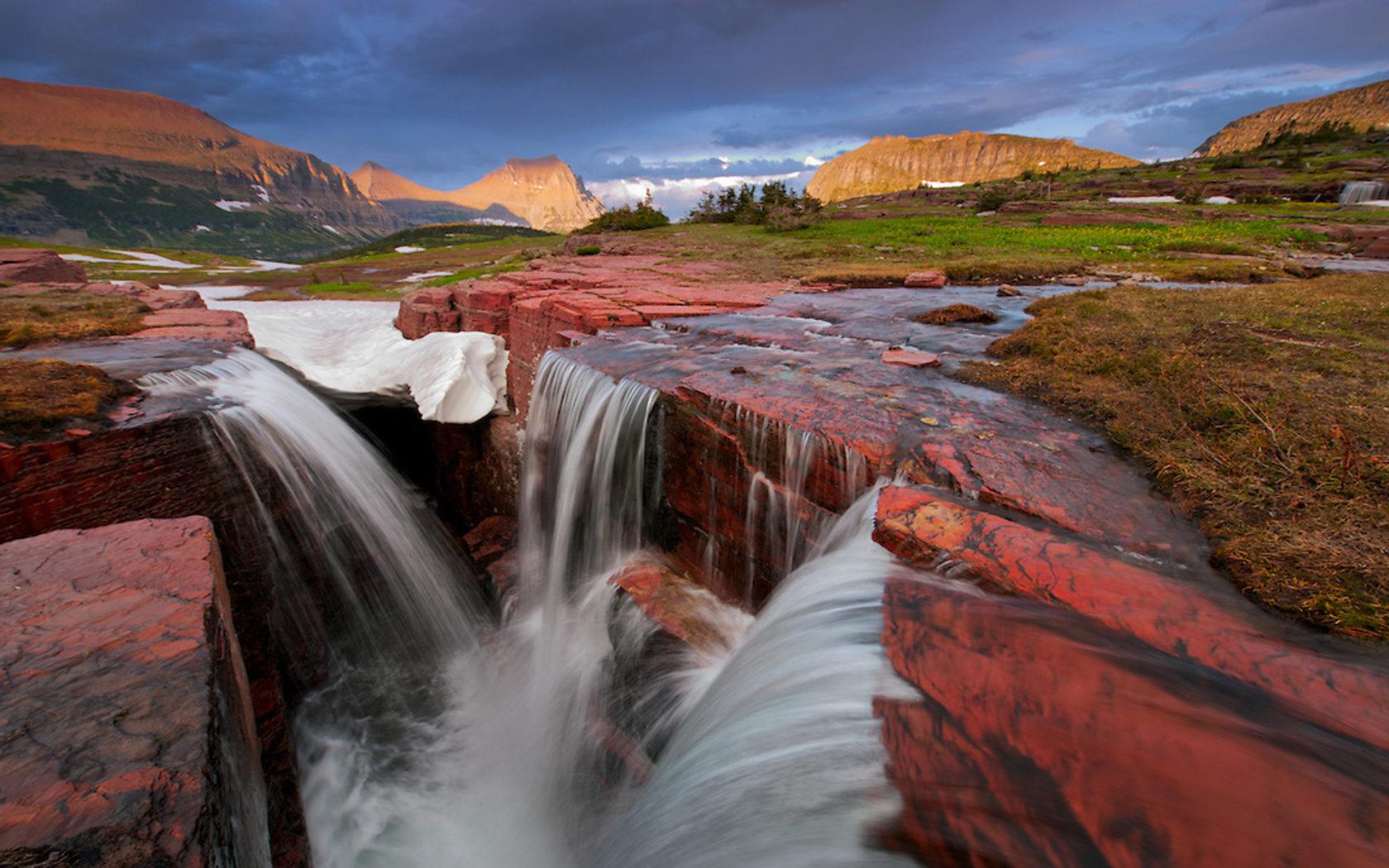 Wallpaper Backgrounds Fall Natural Mountain Stream Waterfall Stones Rocks Triple