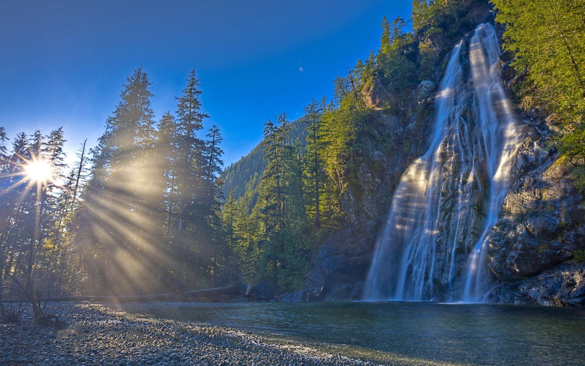 Angel Falls Hd Wallpaper Nature Morning Dawn Sunlight Forest River Waterfall Rock
