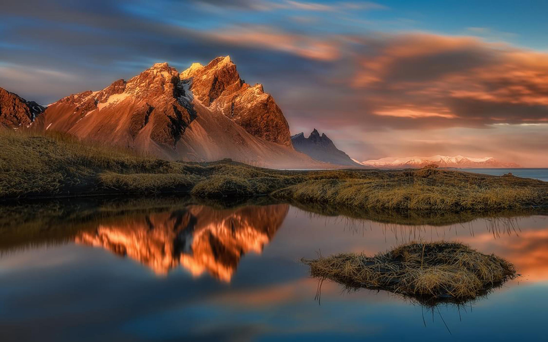 Reflection In Water Stokksnes Vestrahorn Mountain In East