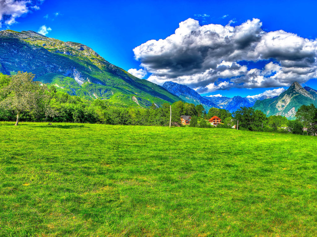 Granite Wallpaper Iphone Slovenia Green Field Of Grass Mountains Alpes Blue Sky