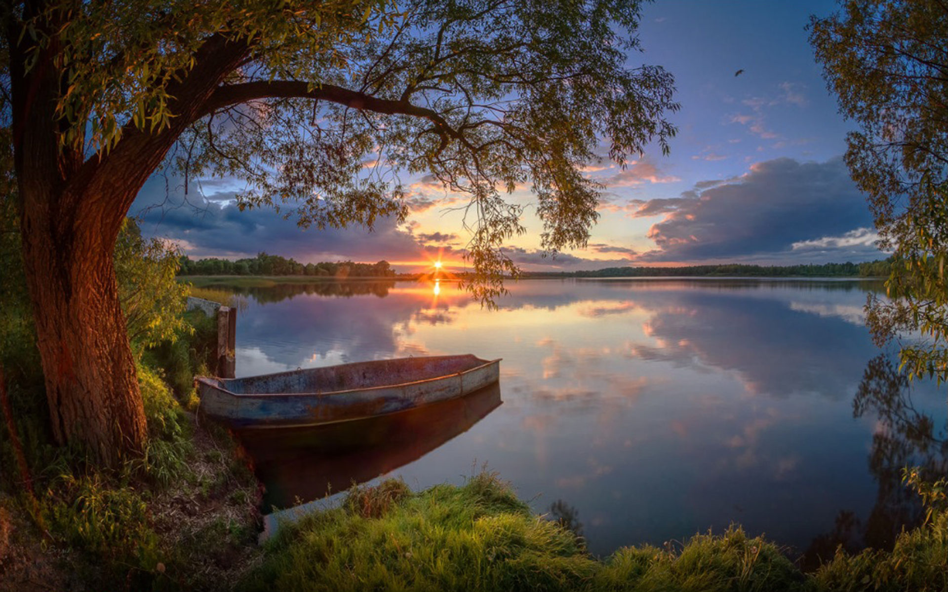 summer lake willow boat sunset wallpaper widescreen hd resolution wallpapers13 com