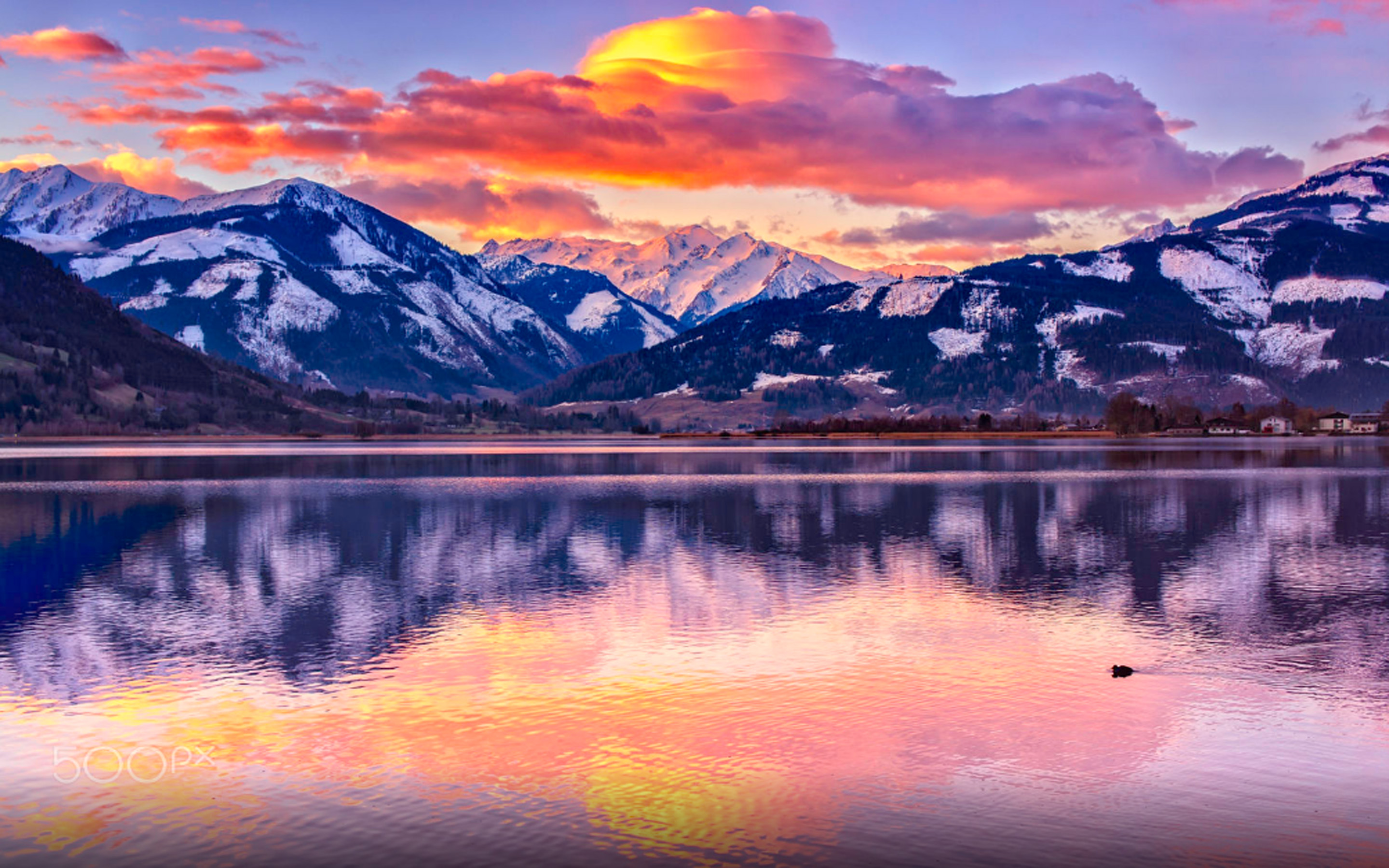 Free Beautiful Desktop Wallpapers For The Fall Sunrise On The Zell Am See Lake In Austria Beautiful Hd