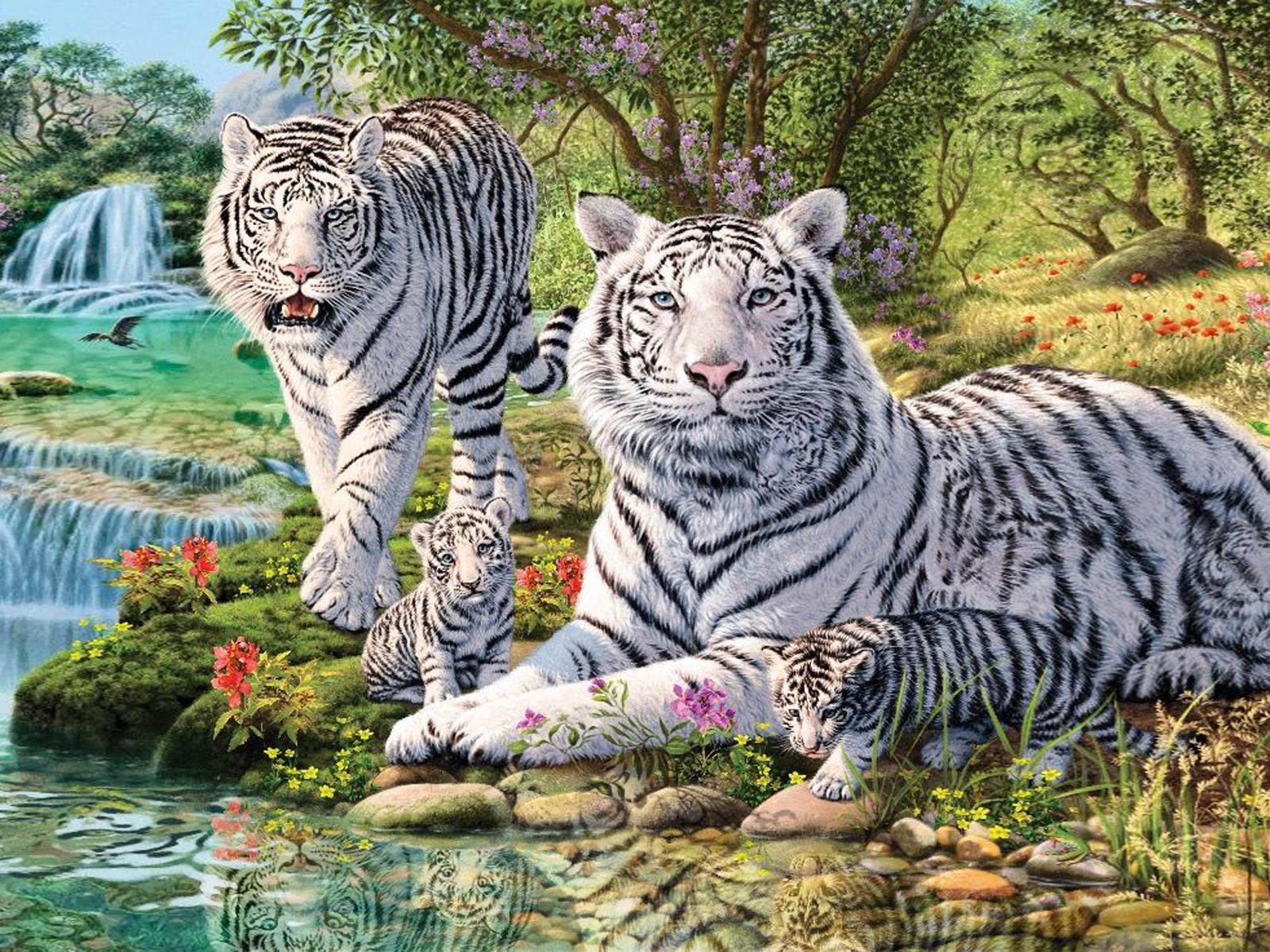 Animated Wallpaper Iphone Download Animals White Tiger And Two Cubs Jungle Waterfall Art