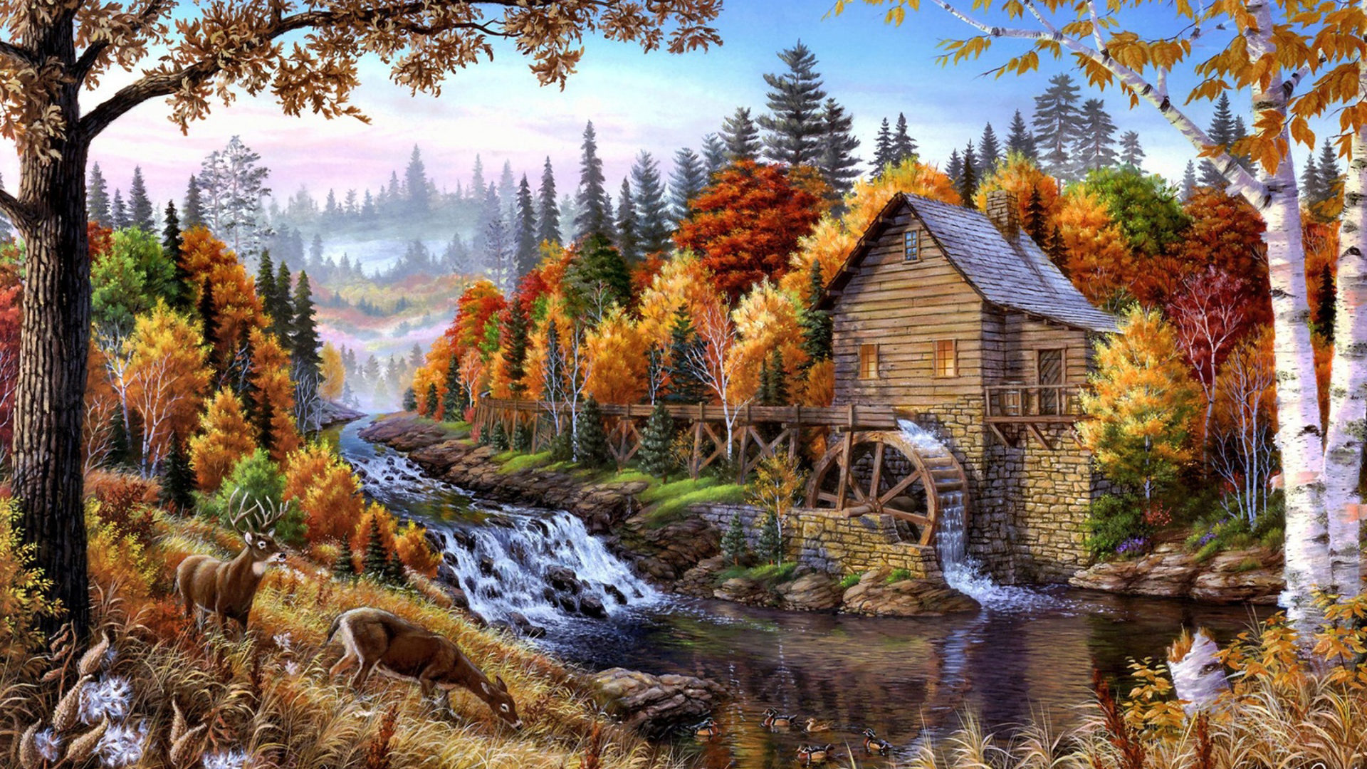 Fall In The Mountains Wallpaper Fall Mill Wooden Mountain River Waterfall Forest With Pine