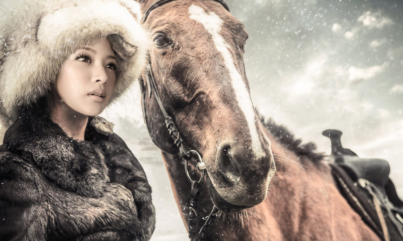 Horse Riding Wallpaper Hd Girl And Horse Winter Snow Coat And Hat Of Fur Full Hd
