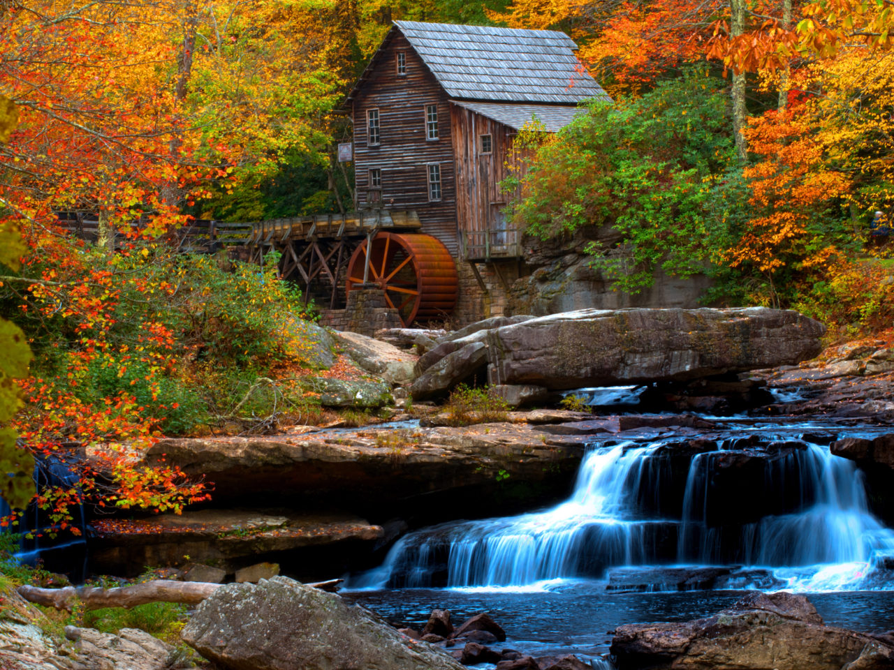 Windows Wallpaper Fall Old Wooden Mill Water Flow Rock Waterfall Hd Wallpaper For
