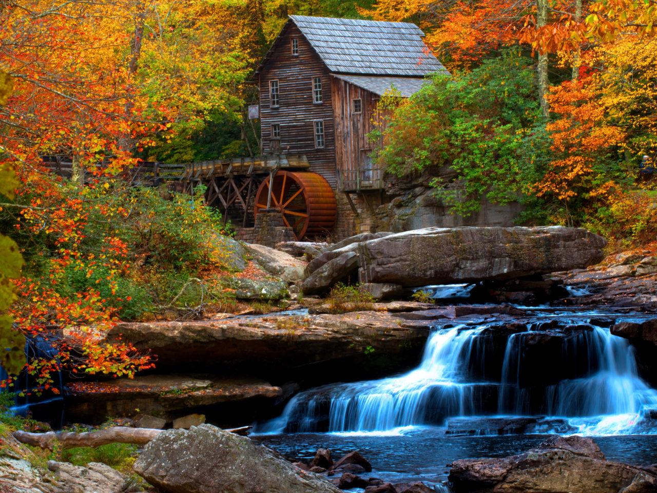 Free Fall Harvest Desktop Wallpaper Old Wooden Mill Water Flow Rock Waterfall Hd Wallpaper For