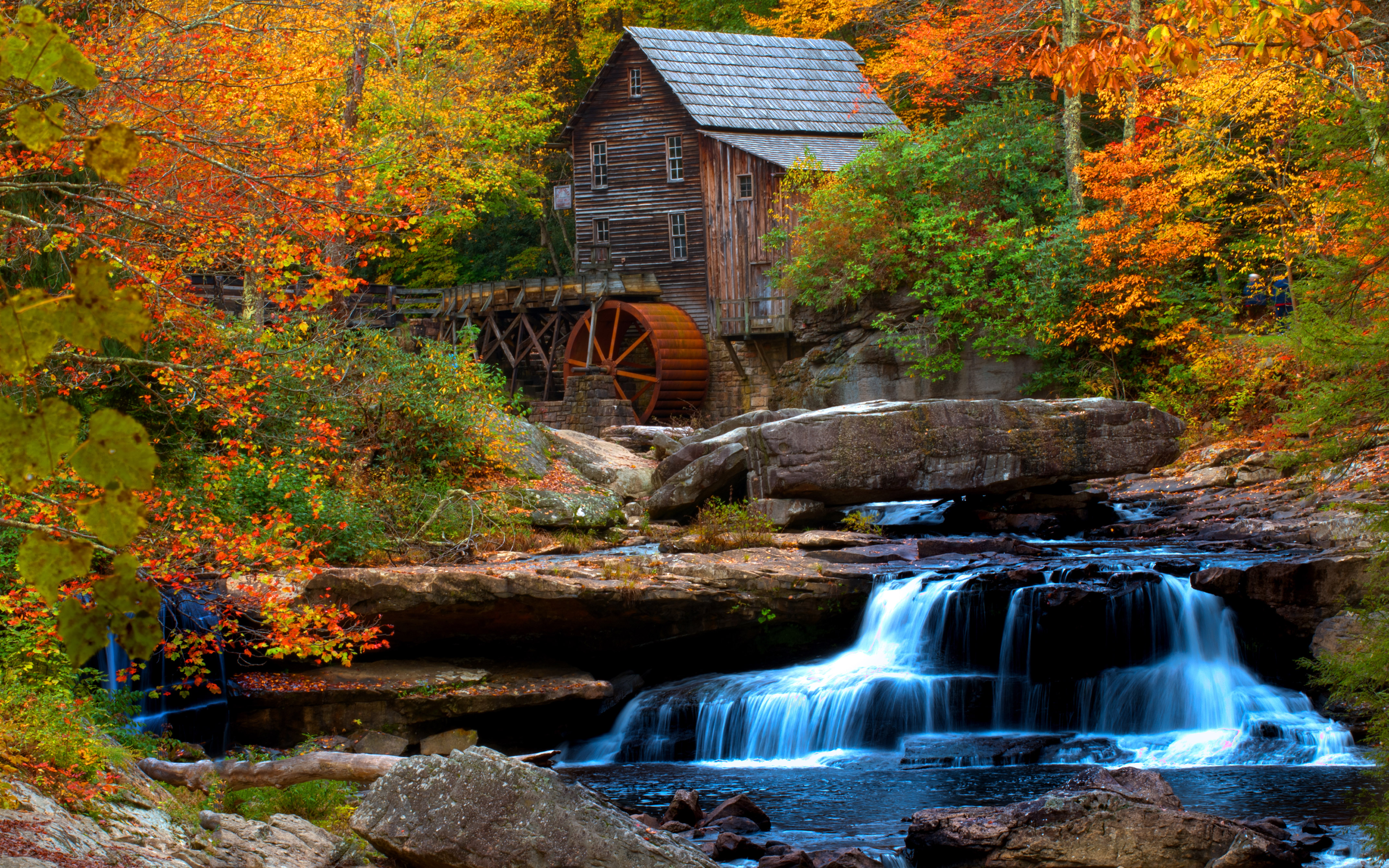Fall Foliage Computer Wallpaper Old Wooden Mill Water Flow Rock Waterfall Hd Wallpaper For
