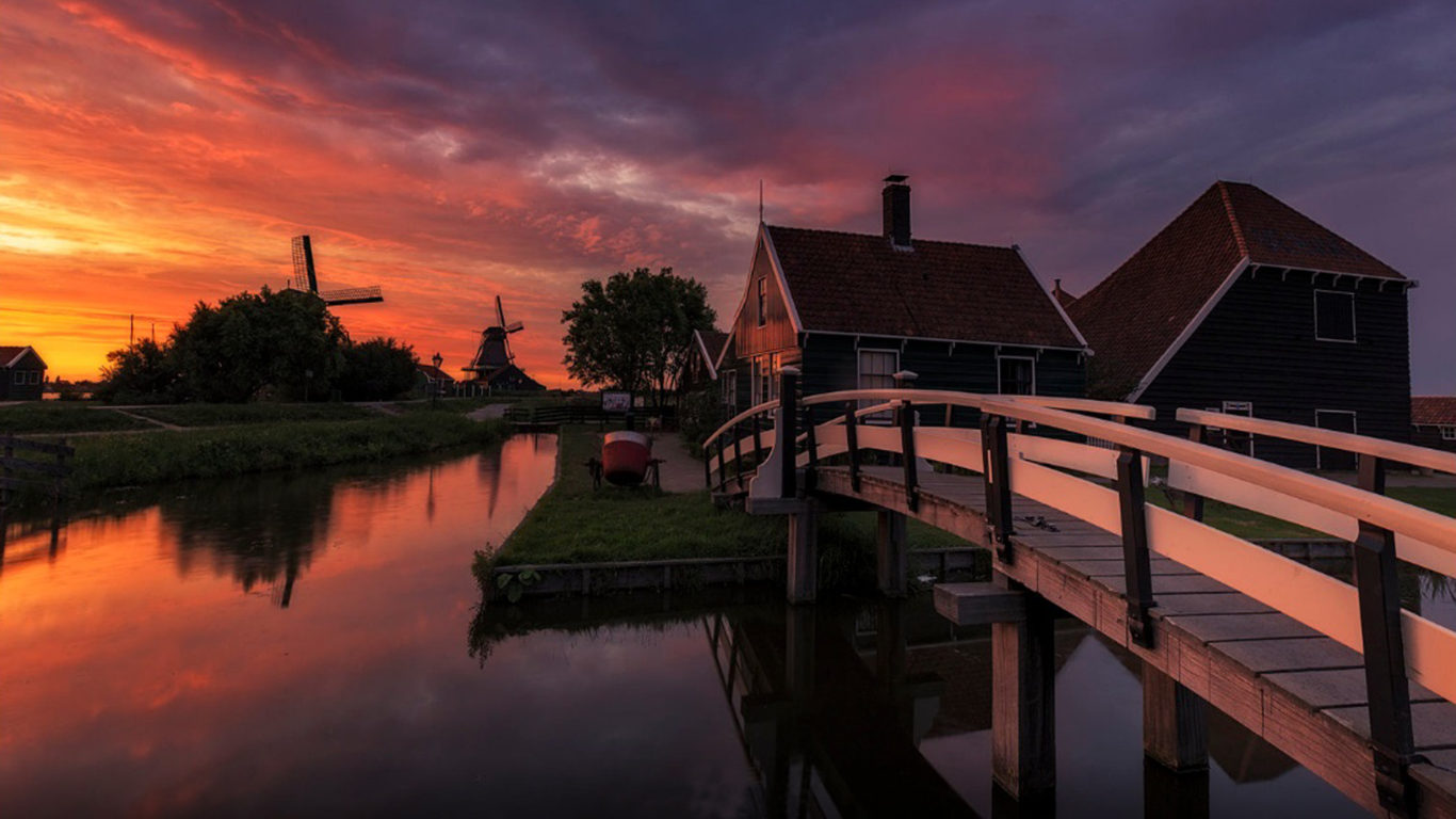Hd Wallpapers 1080p Windows Sunset Farm In Netherlands House And Wooden Bridge Channel