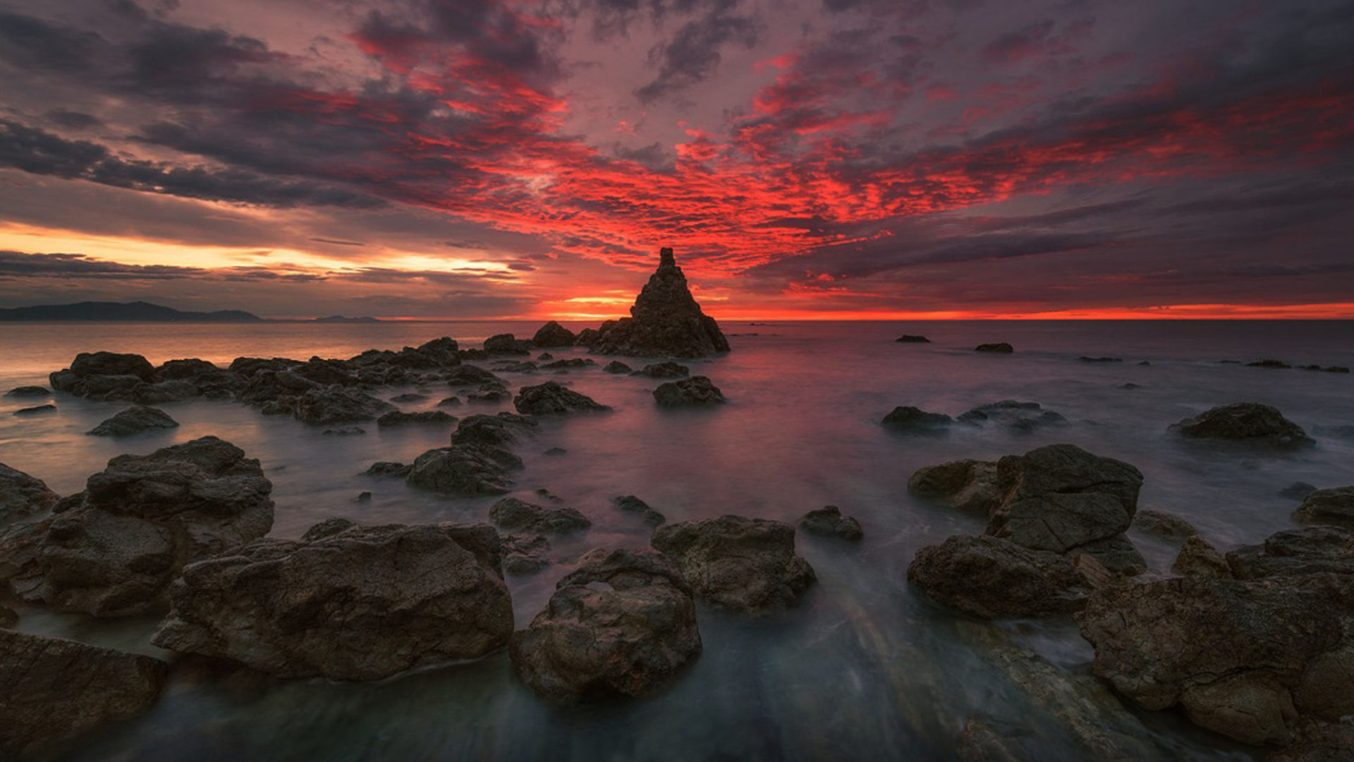 Iphone 4 Wallpaper Resolution Sunset Red Cloud Sea Coast Rock Band Ocean Horizon Desktop