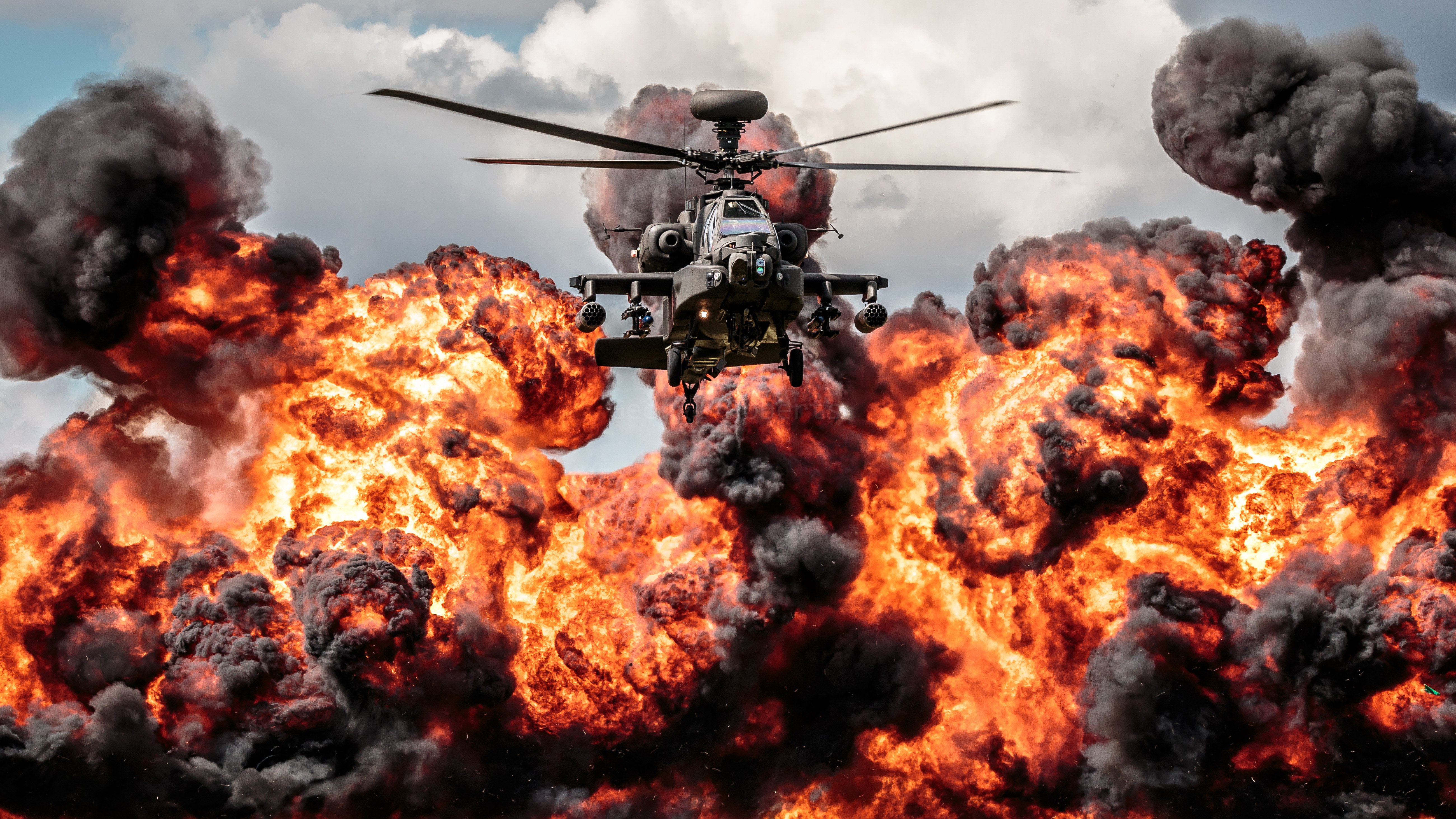 helicopter apache explosion fire