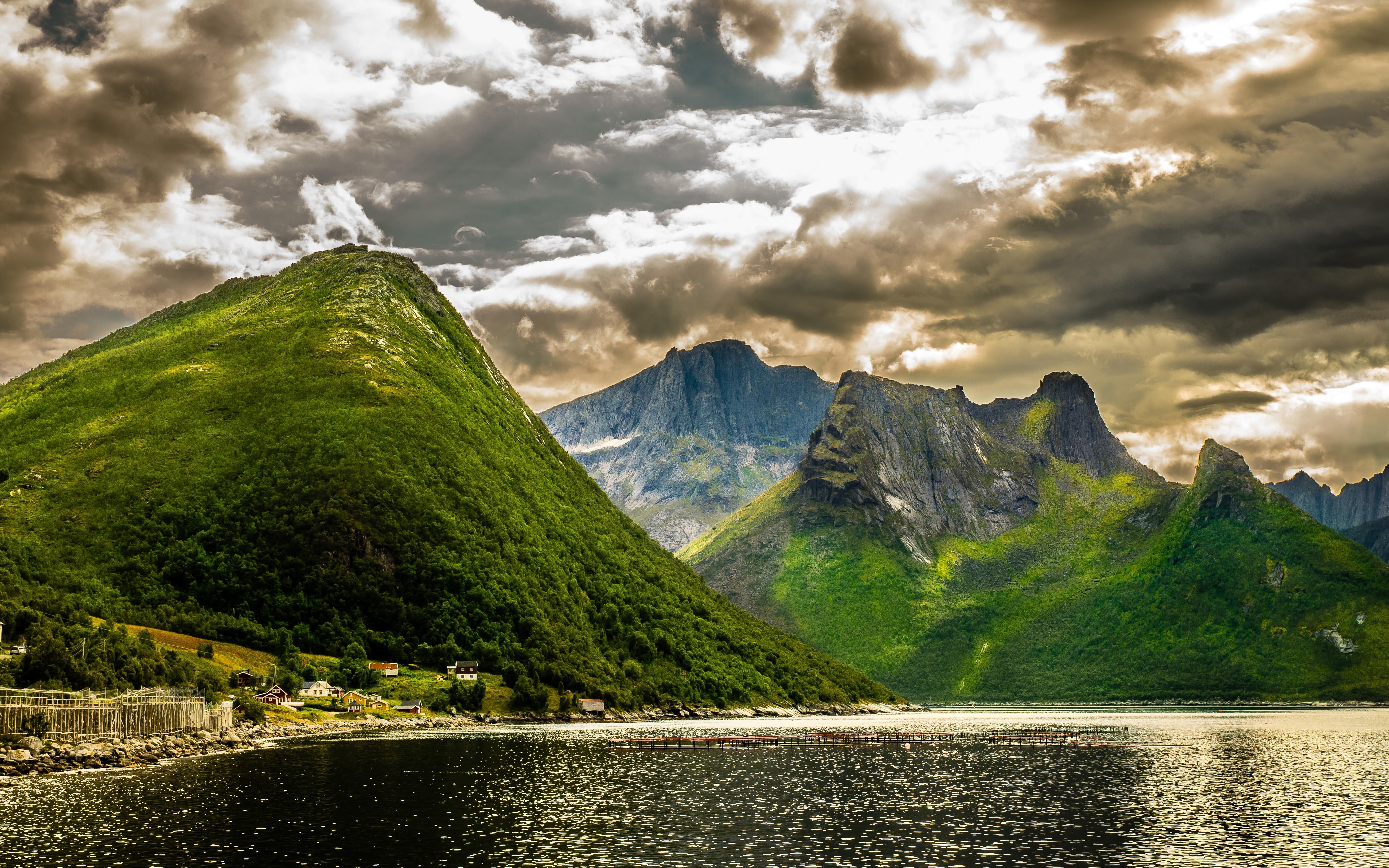 Falls Hd Wallpaper Free Download Summer Landscape Green Norwegian Mountains Rocky Peaks
