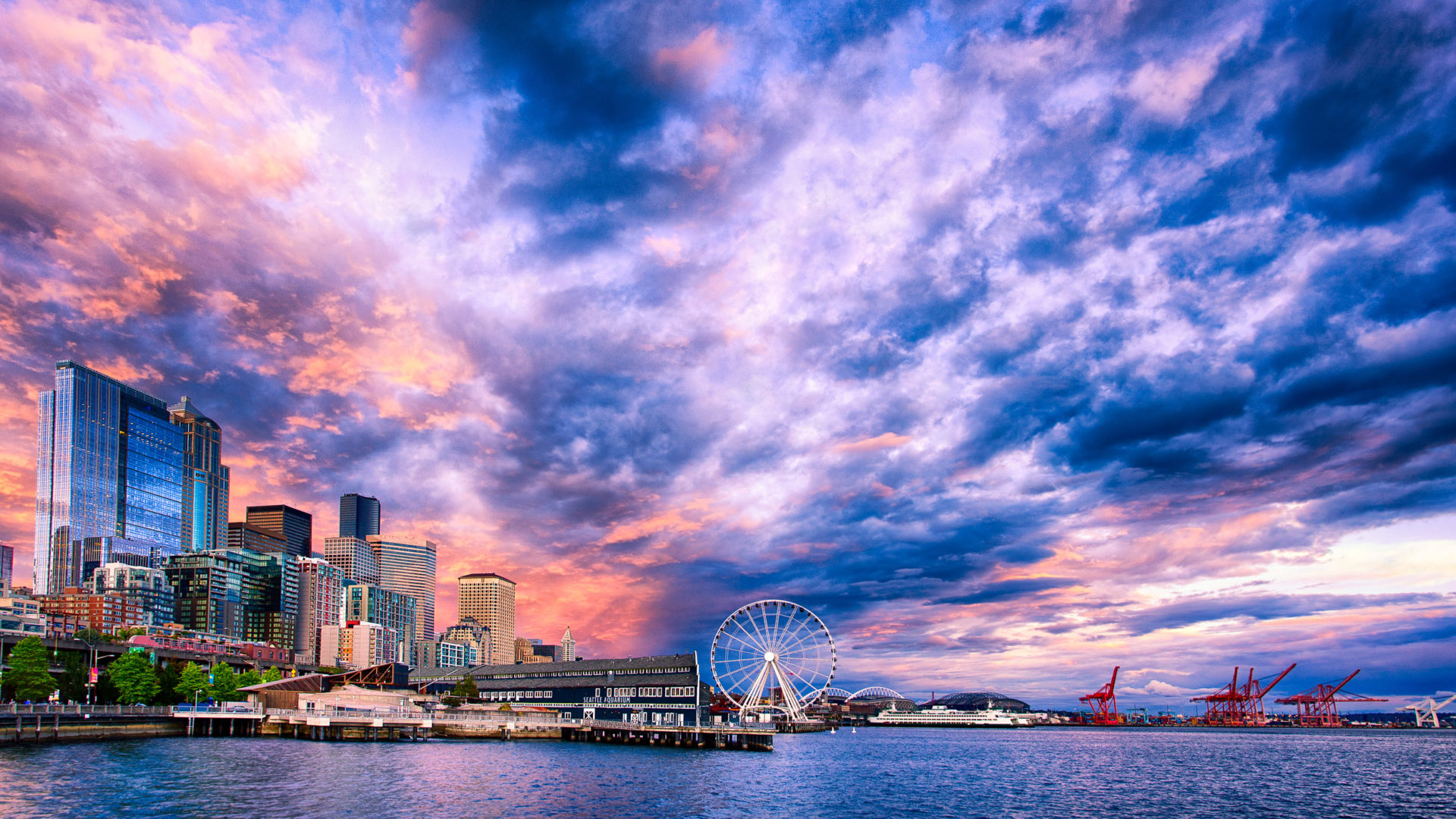 Nyc Iphone X Wallpaper Sunset On The Seattle Waterfront Desktop Wallpaper Hd