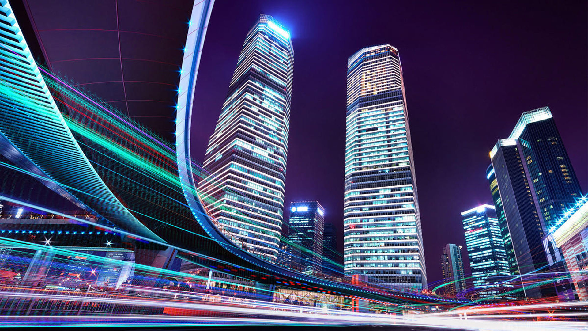 First Iphone Wallpaper For Iphone X Shanghai China Skyscrapers Night Time Hd Wallpaper 1920